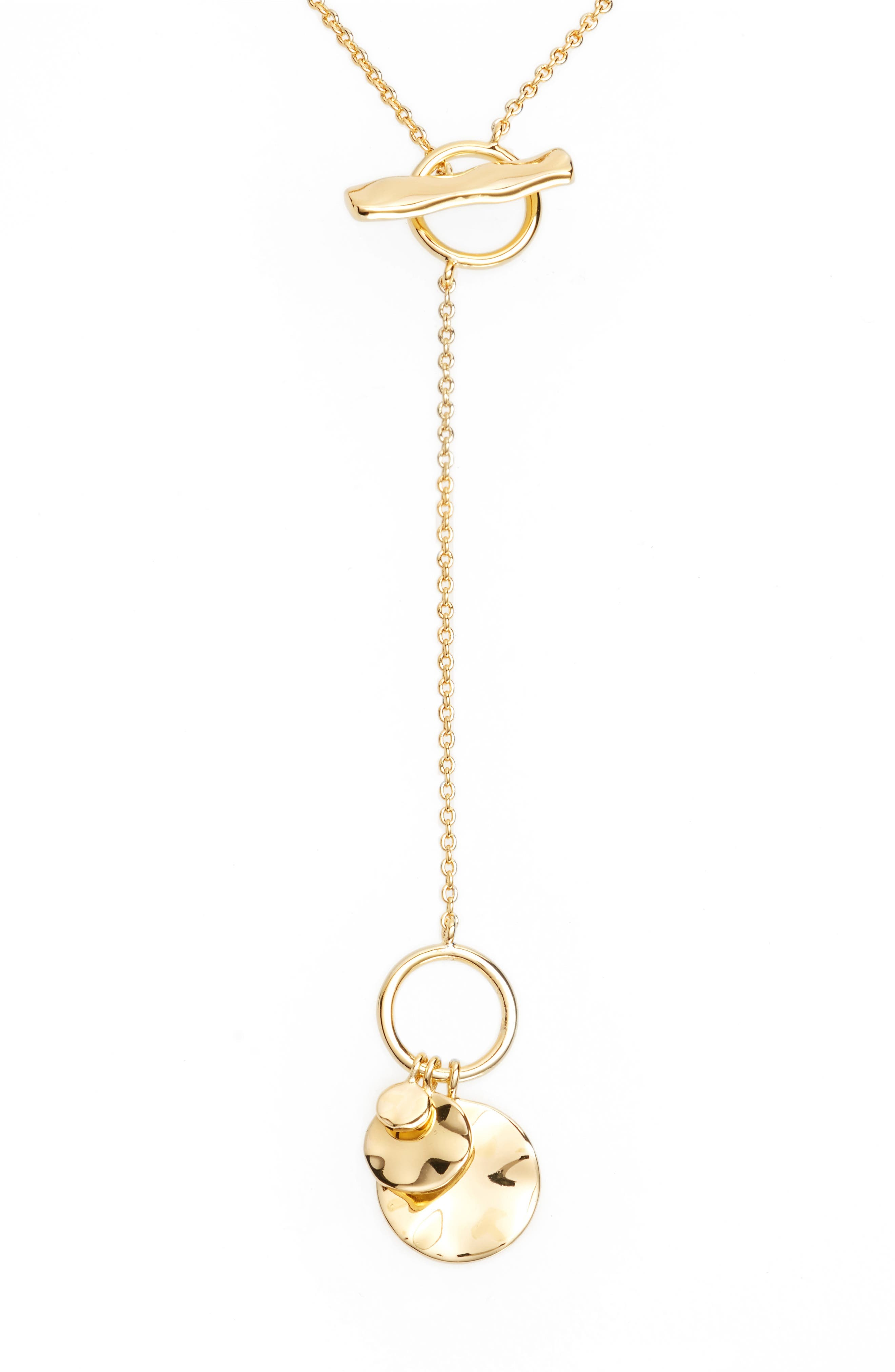 Chloe Small Hammered Disc Toggle Necklace,                             Alternate thumbnail 2, color,                             Gold
