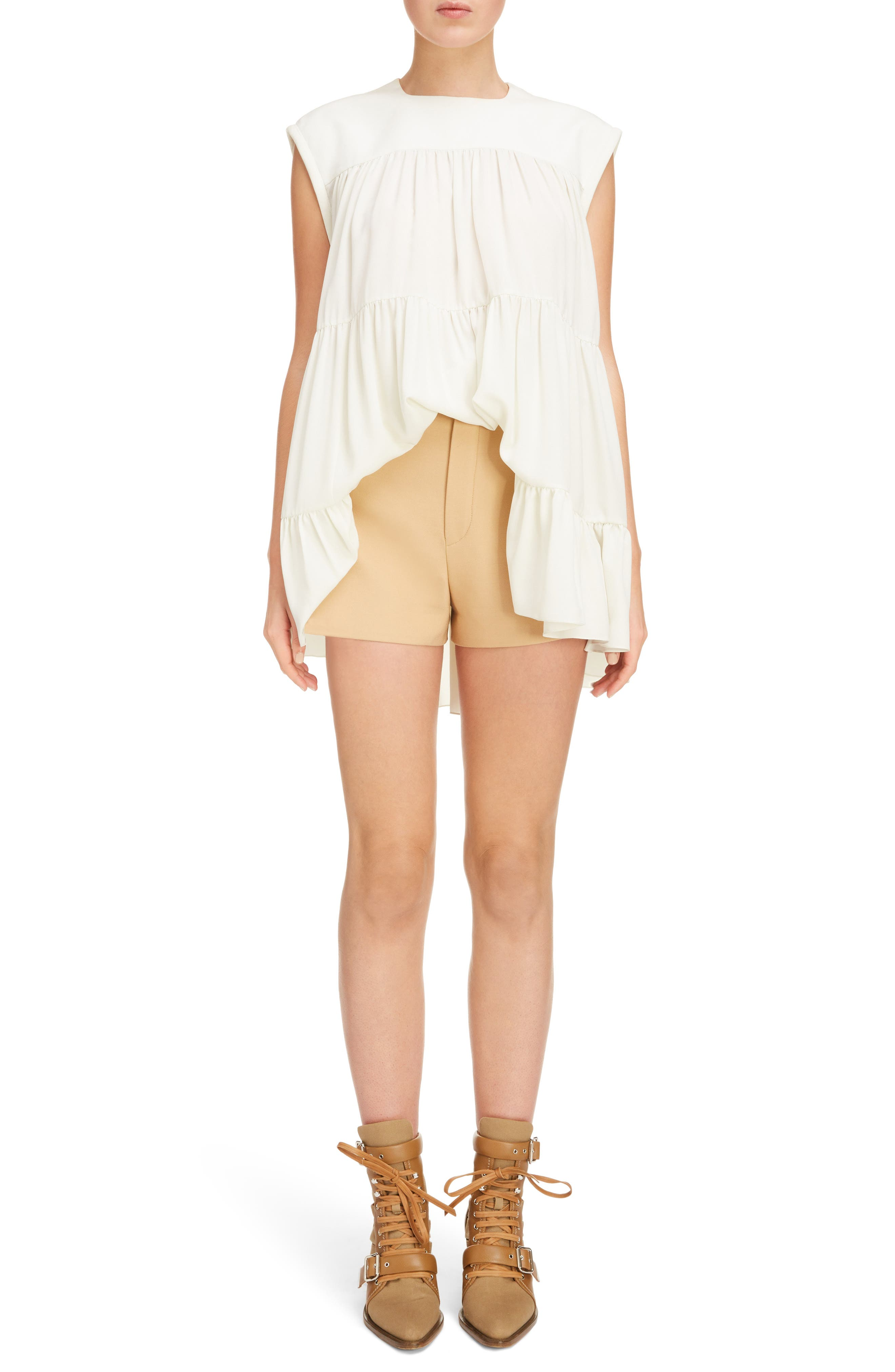 Side Pleat Wool & Silk Blend Shorts,                             Alternate thumbnail 2, color,                             Quiet Brown