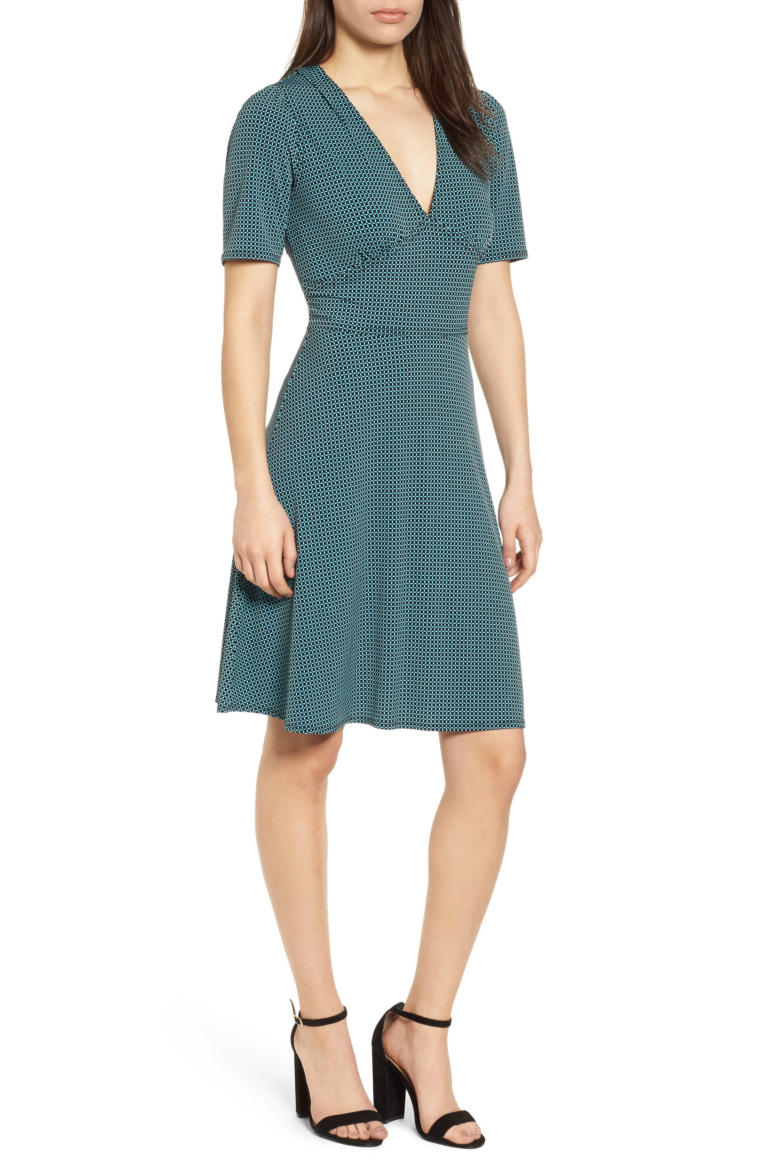 Mod Geo Fit & Flare Dress,                             Main thumbnail 1, color,                             Turquoise/ Black