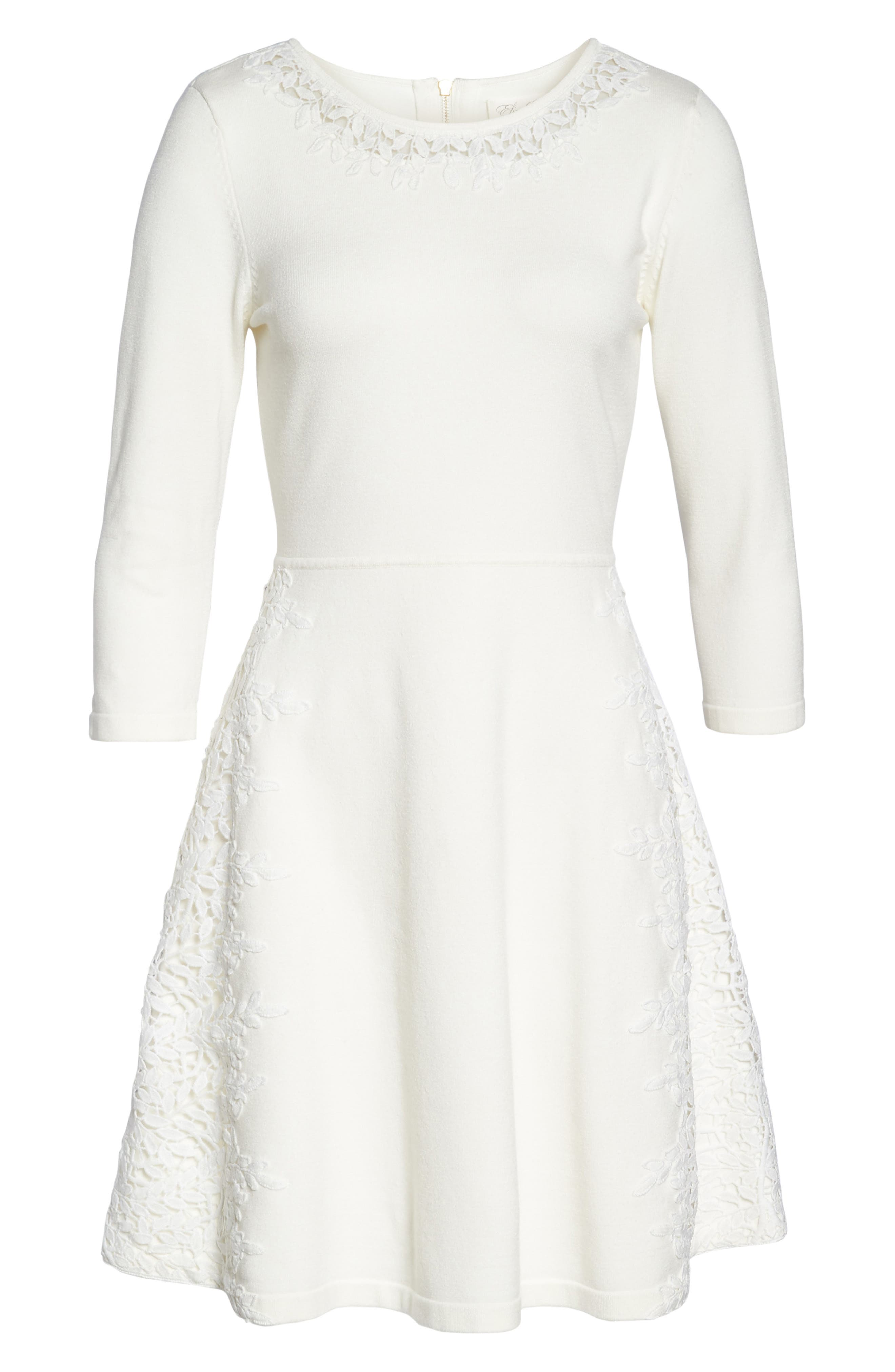 Lace Overlay Sweater Dress,                             Alternate thumbnail 6, color,                             Ivory