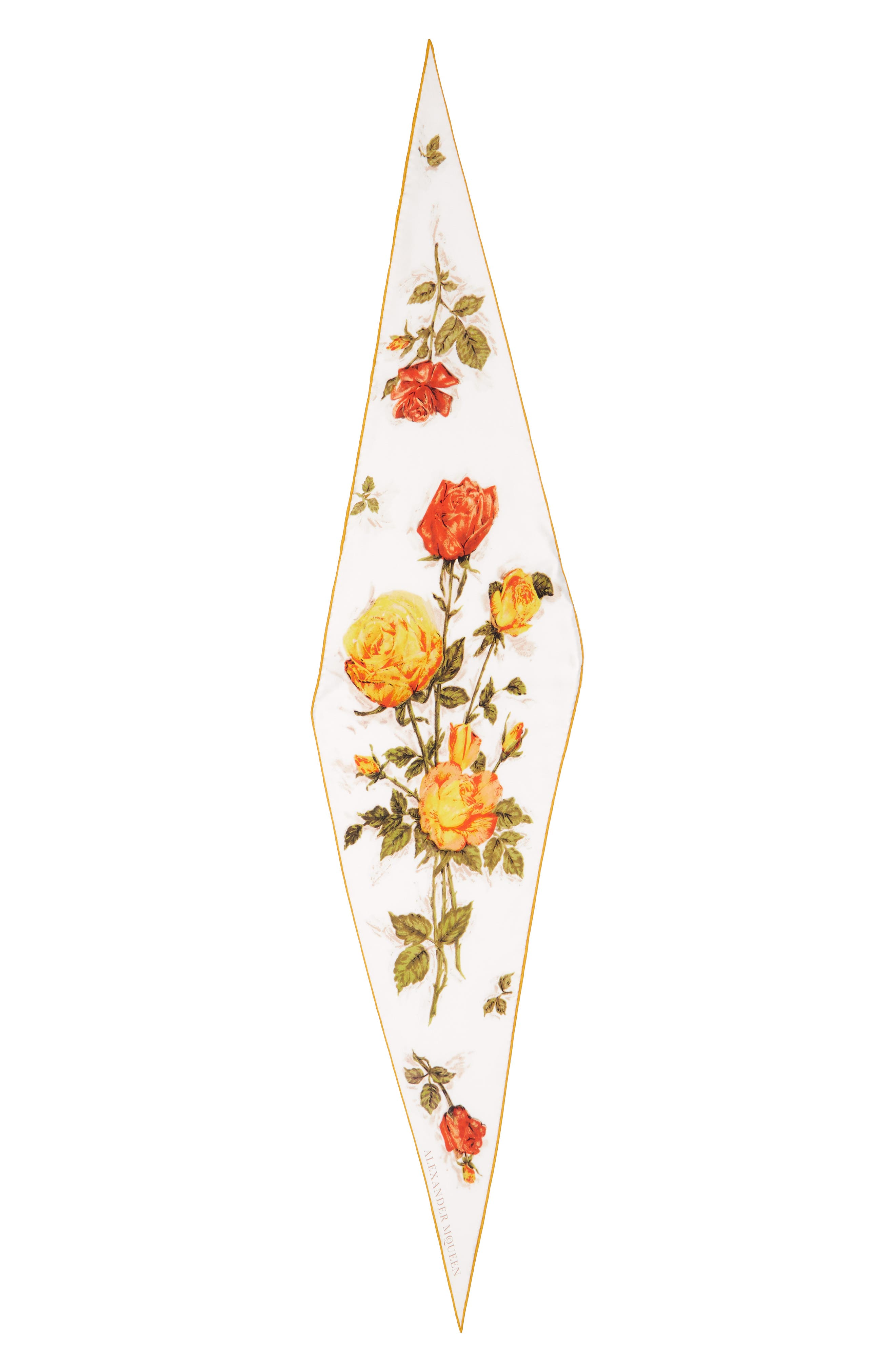Vintage Roses Losange Silk Twill Scarf,                             Main thumbnail 1, color,                             Ivory/ Yellow