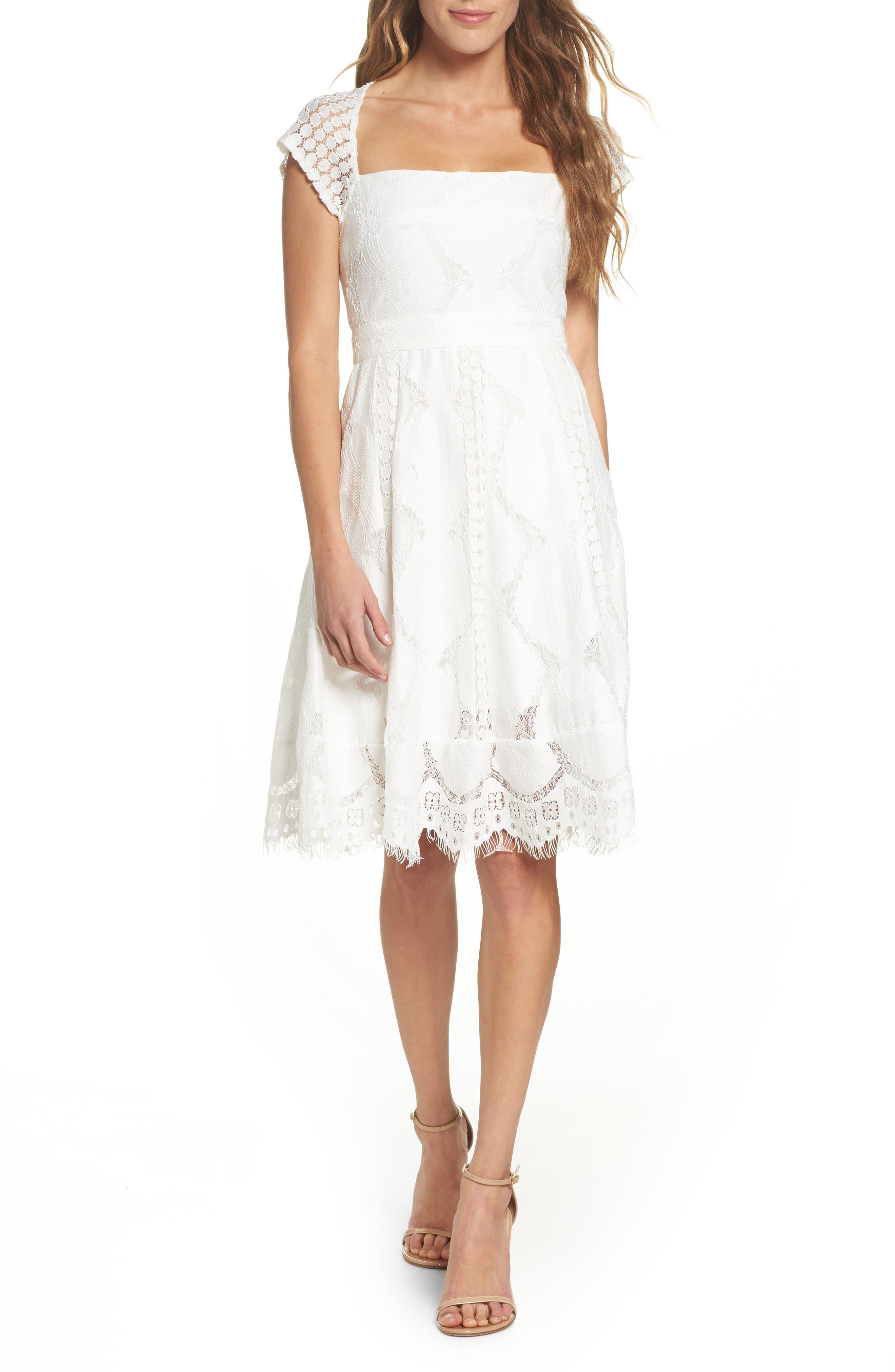 Theodora Lace Dress,                             Main thumbnail 1, color,                             White