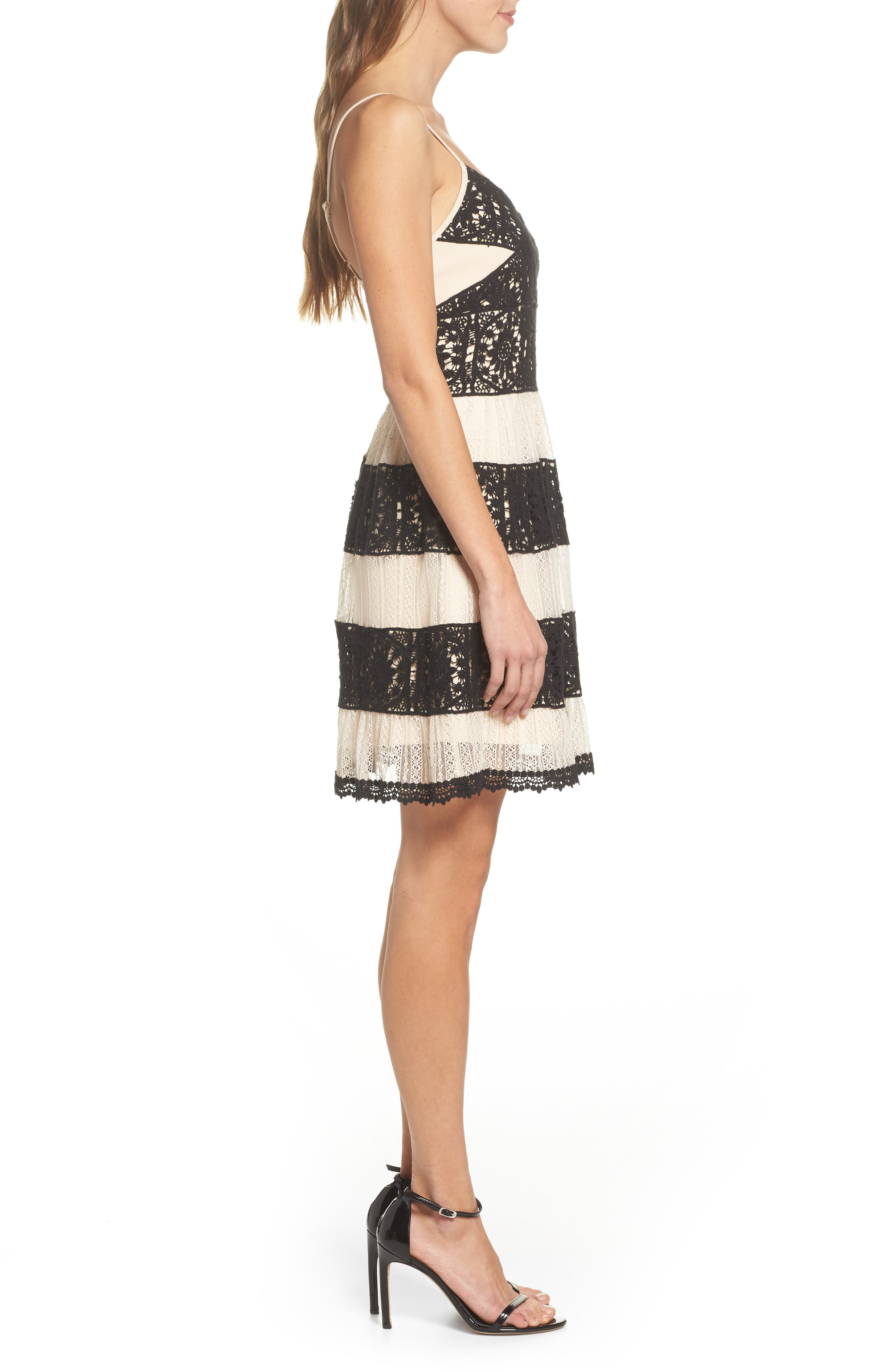 Ophelia Two-Tone Lace Fit & Flare Dress,                             Alternate thumbnail 3, color,                             Black/ Nude