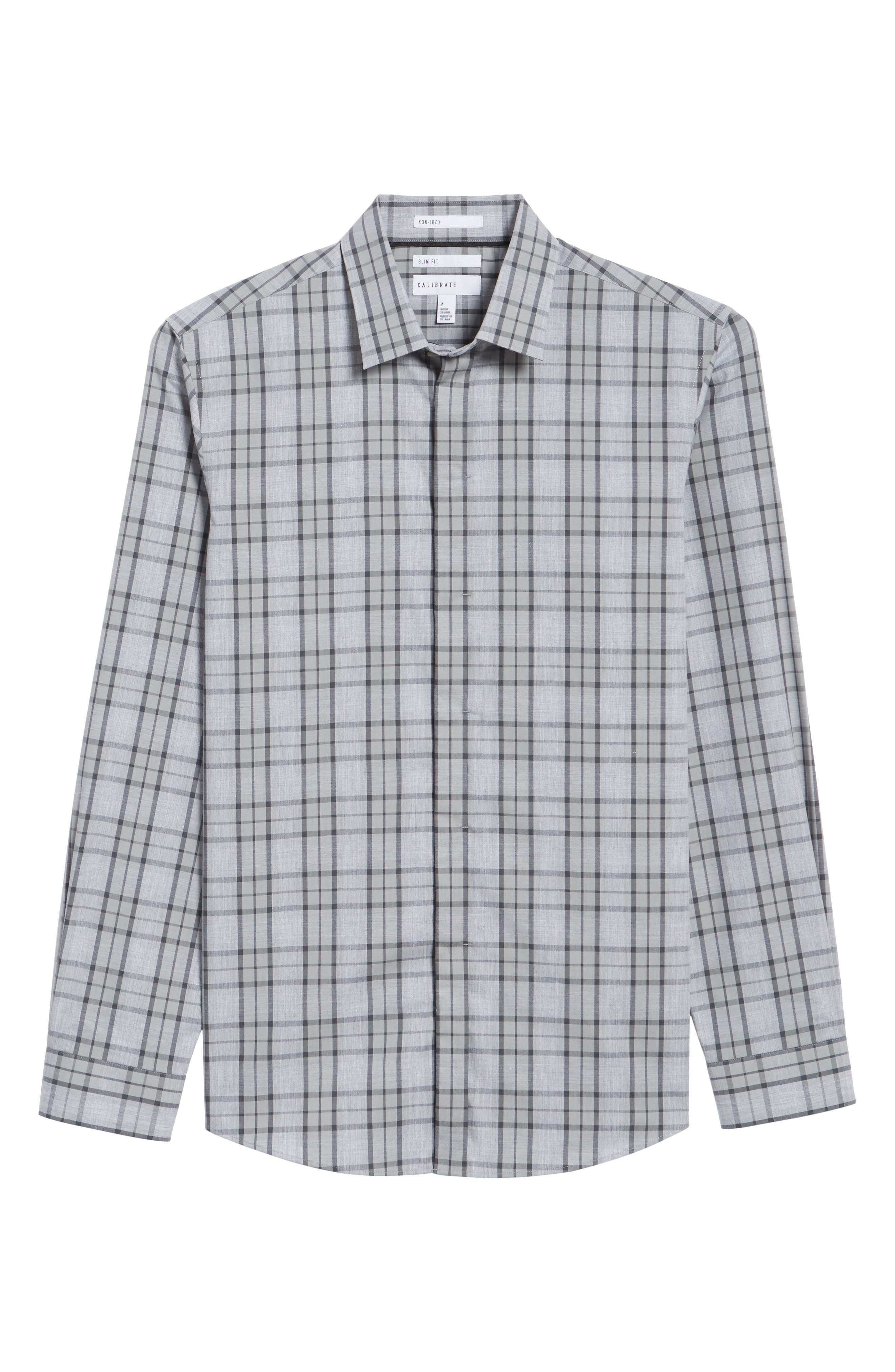 Trim Fit Plaid Sport Shirt,                             Alternate thumbnail 6, color,                             Grey Micro Heather Plaid