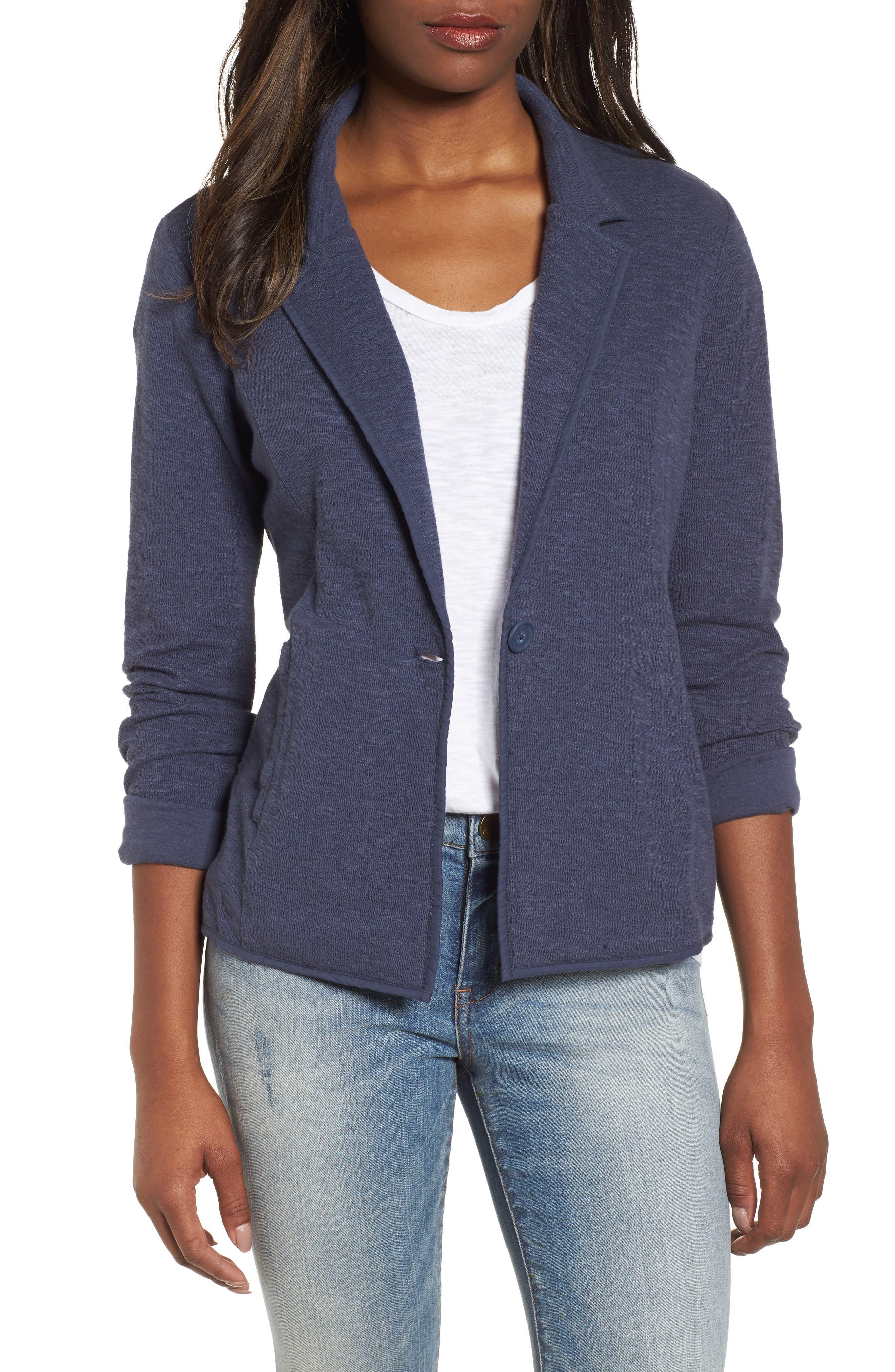 Main Image - Caslon® One-Button Knit Blazer (Regular & Petite)