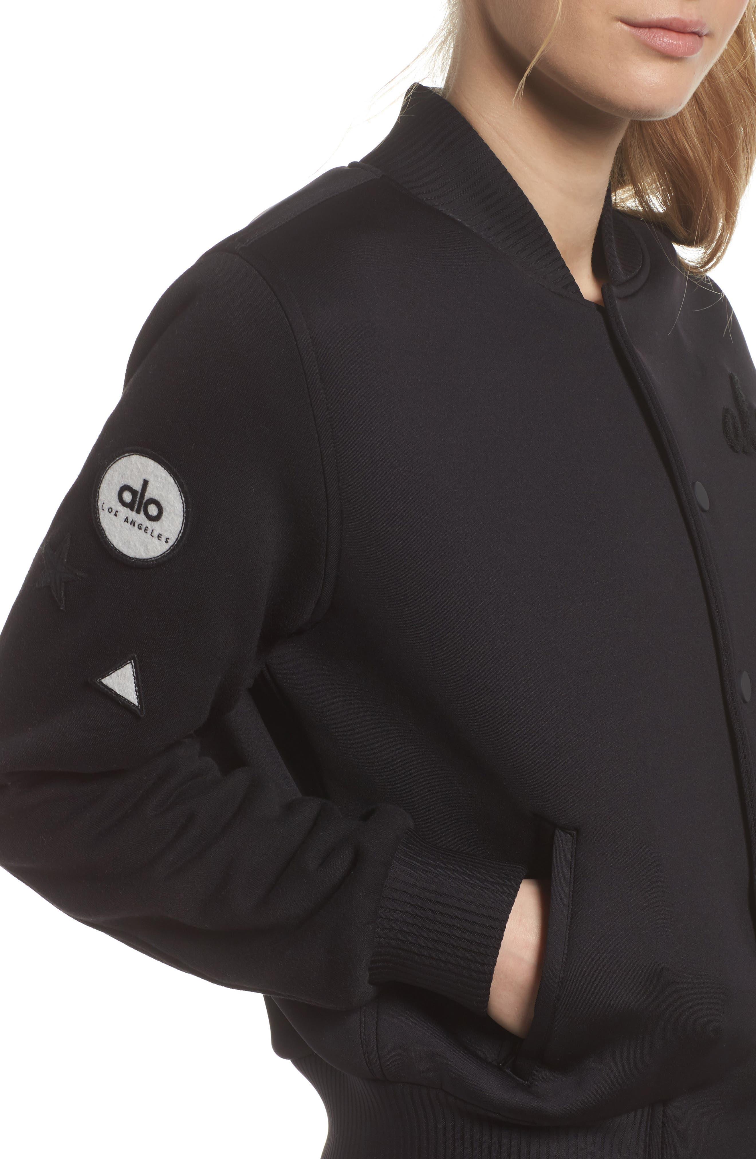 League Varsity Jacket,                             Alternate thumbnail 4, color,                             Black/ Alo Patches
