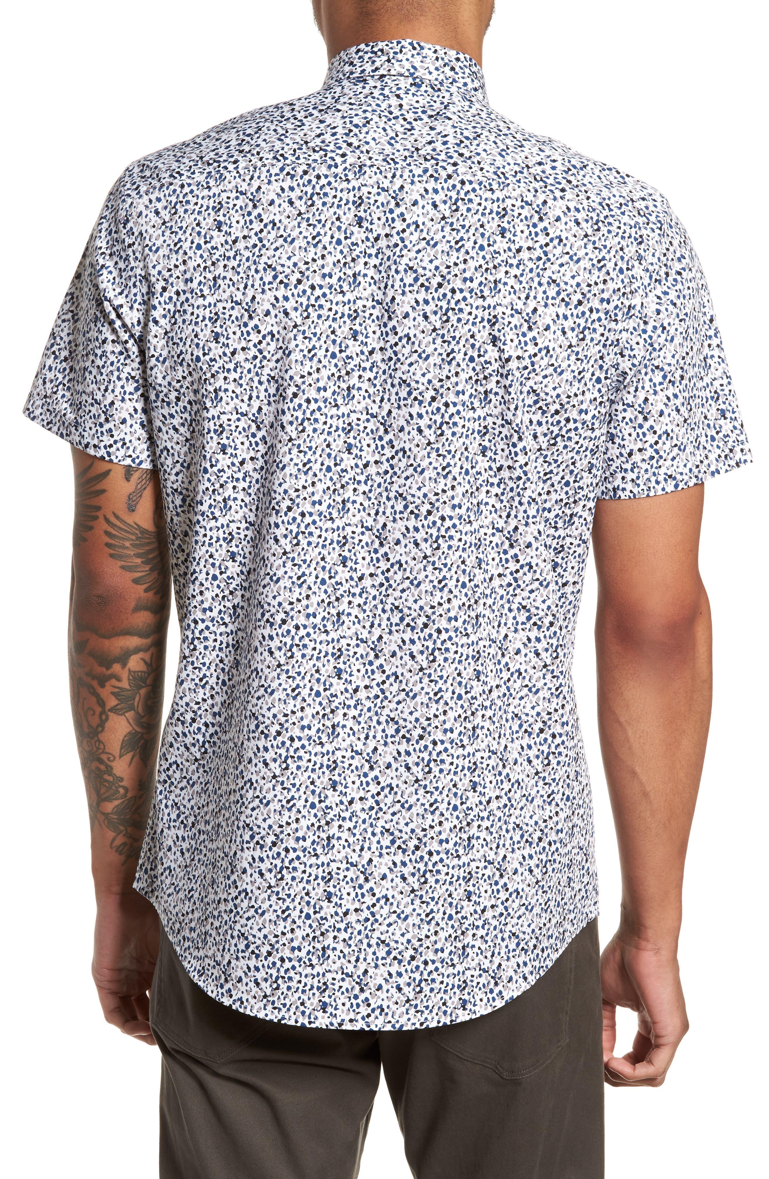 Print Welt Pocket Sport Shirt,                             Alternate thumbnail 3, color,                             White Blue Splatter