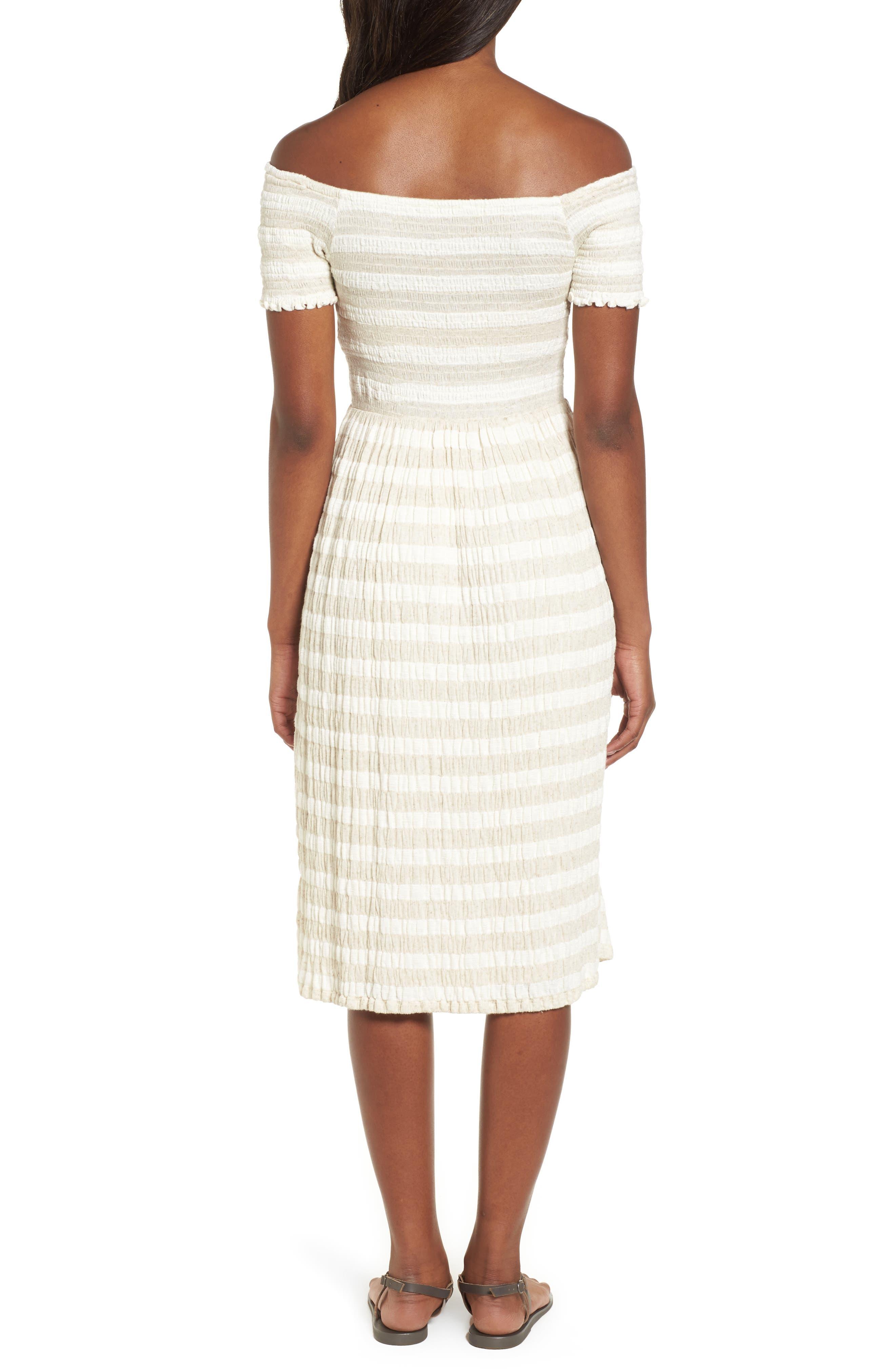 Stripe Smocked Midi Dress,                             Alternate thumbnail 2, color,                             Natural Multi