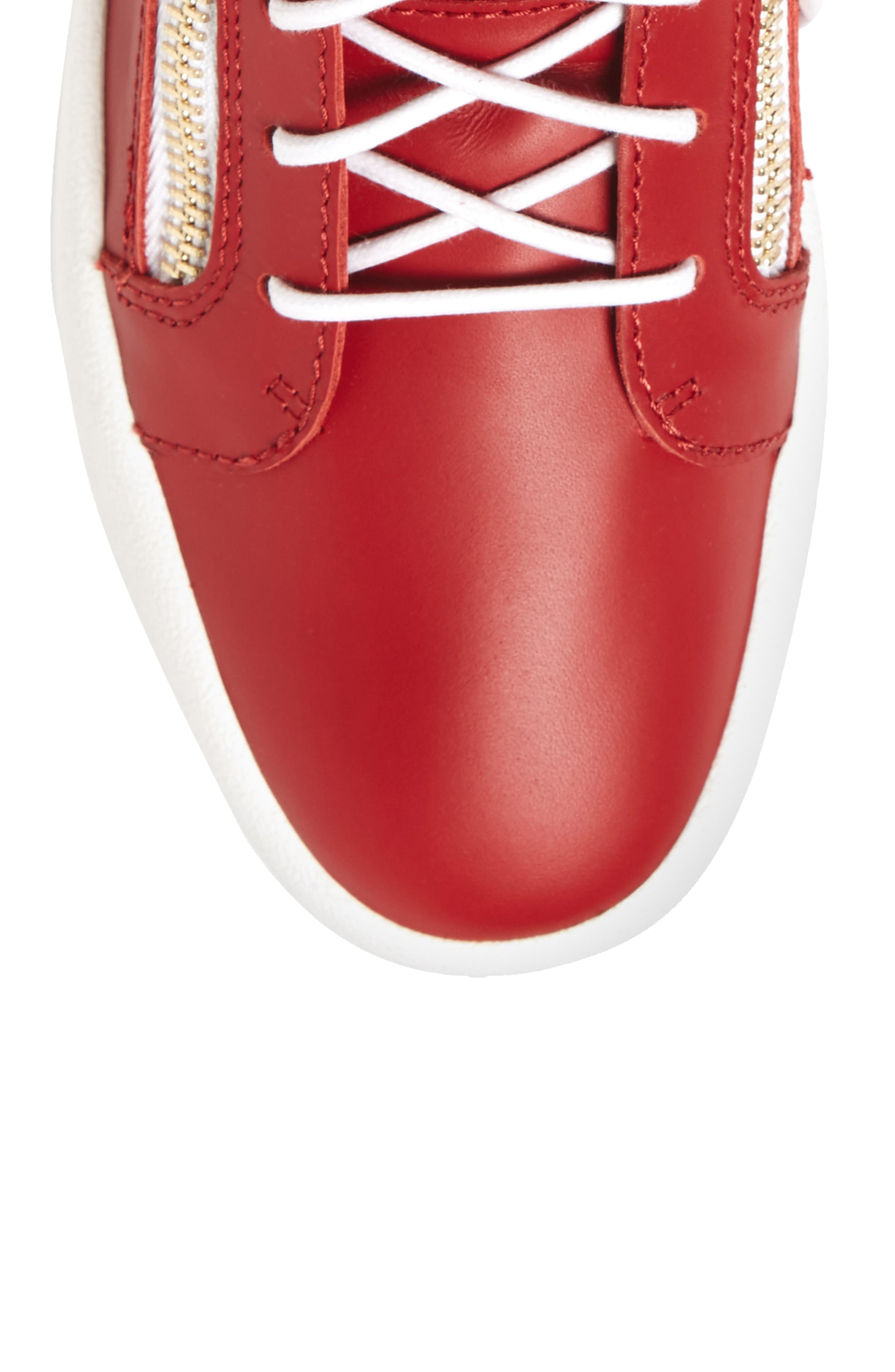 Double Zipper Mid Top Sneaker,                             Alternate thumbnail 5, color,                             Red W/ White Leather
