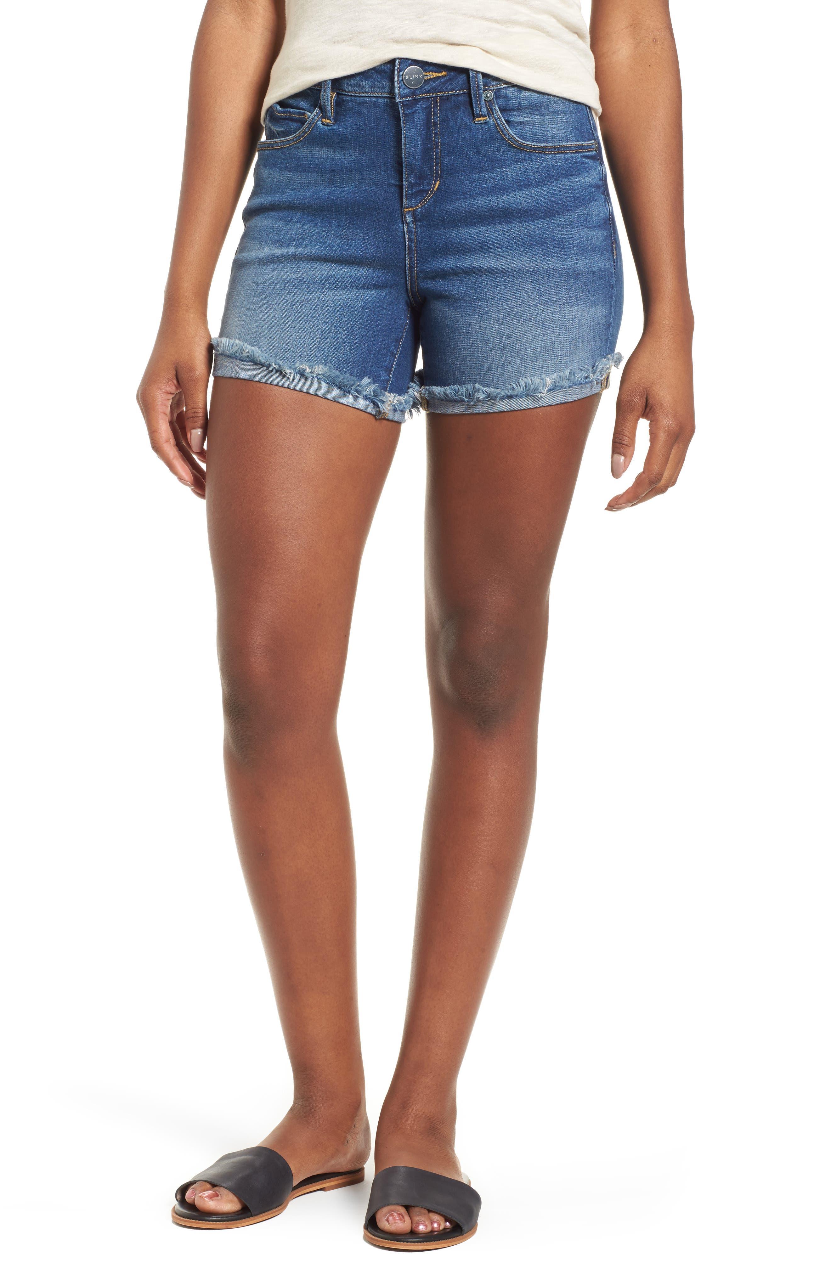 SLINK Jeans Frayed Denim Shorts (Birdy)