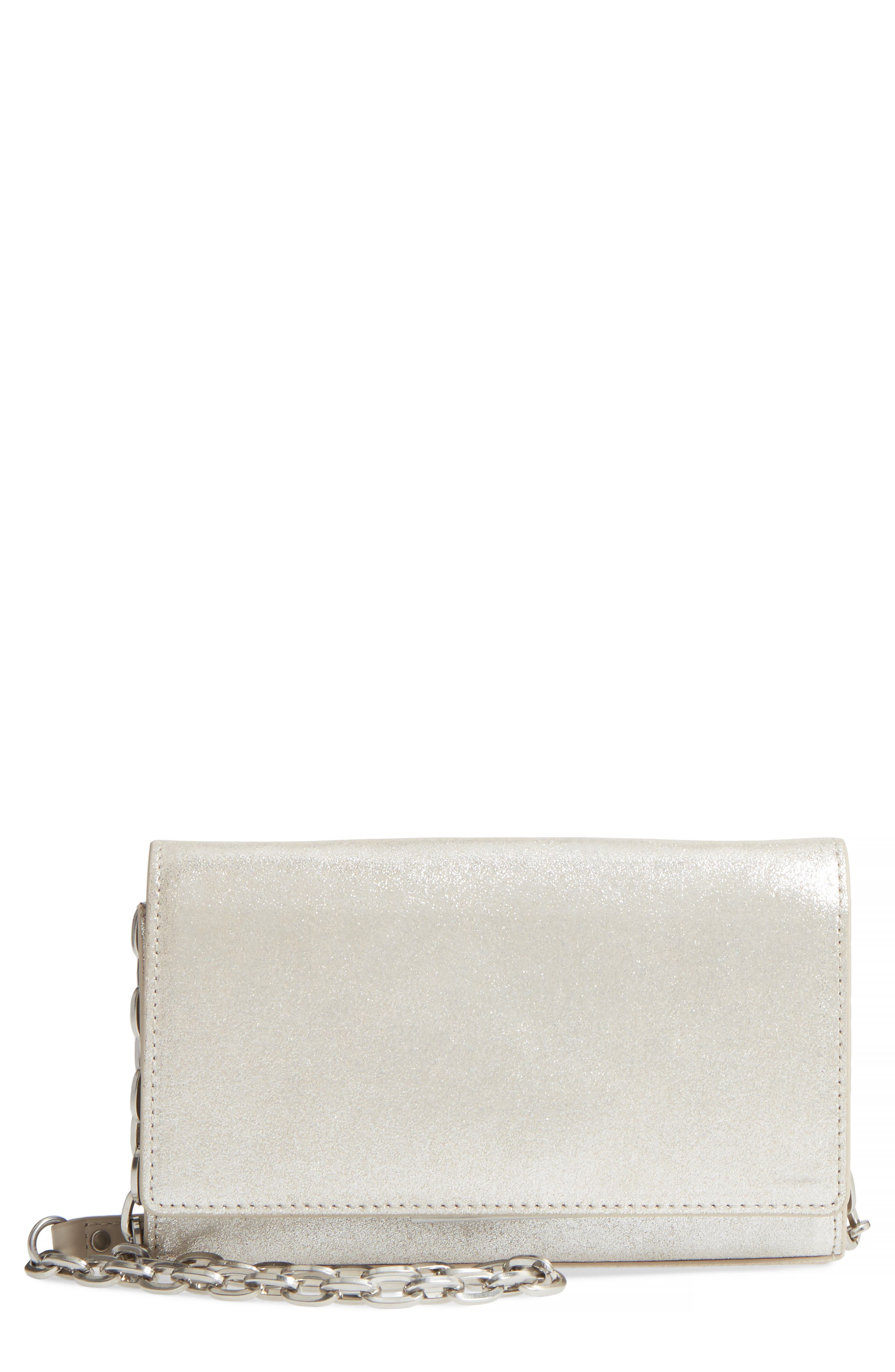 Avery Metallic Leather Wallet on a Chain,                         Main,                         color, Silver