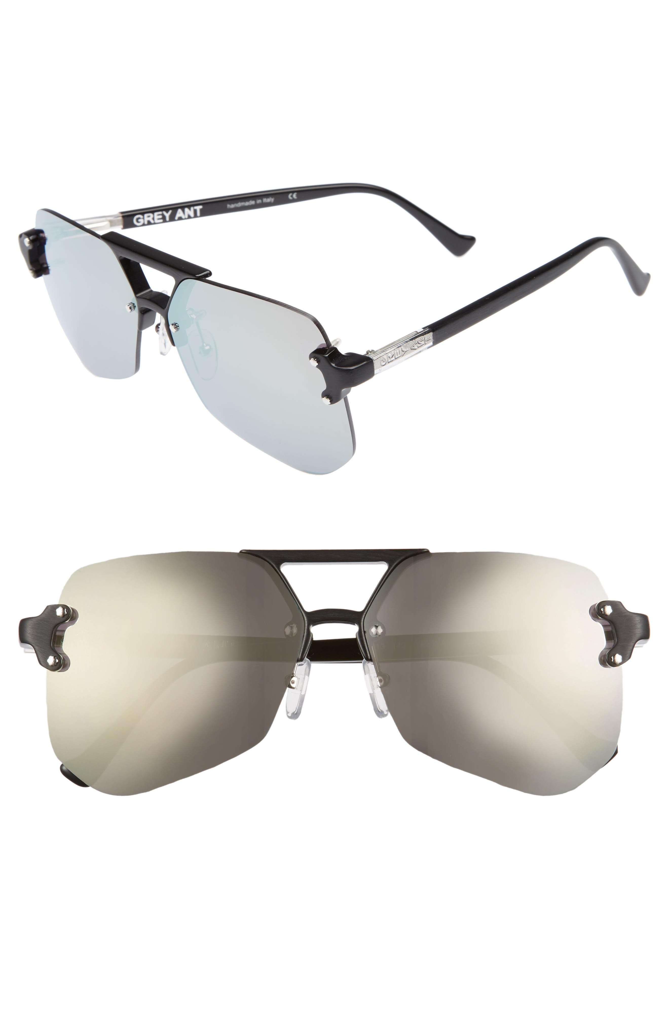Yesway 60mm Sunglasses,                         Main,                         color, Silver Lens/ Silver Hardware