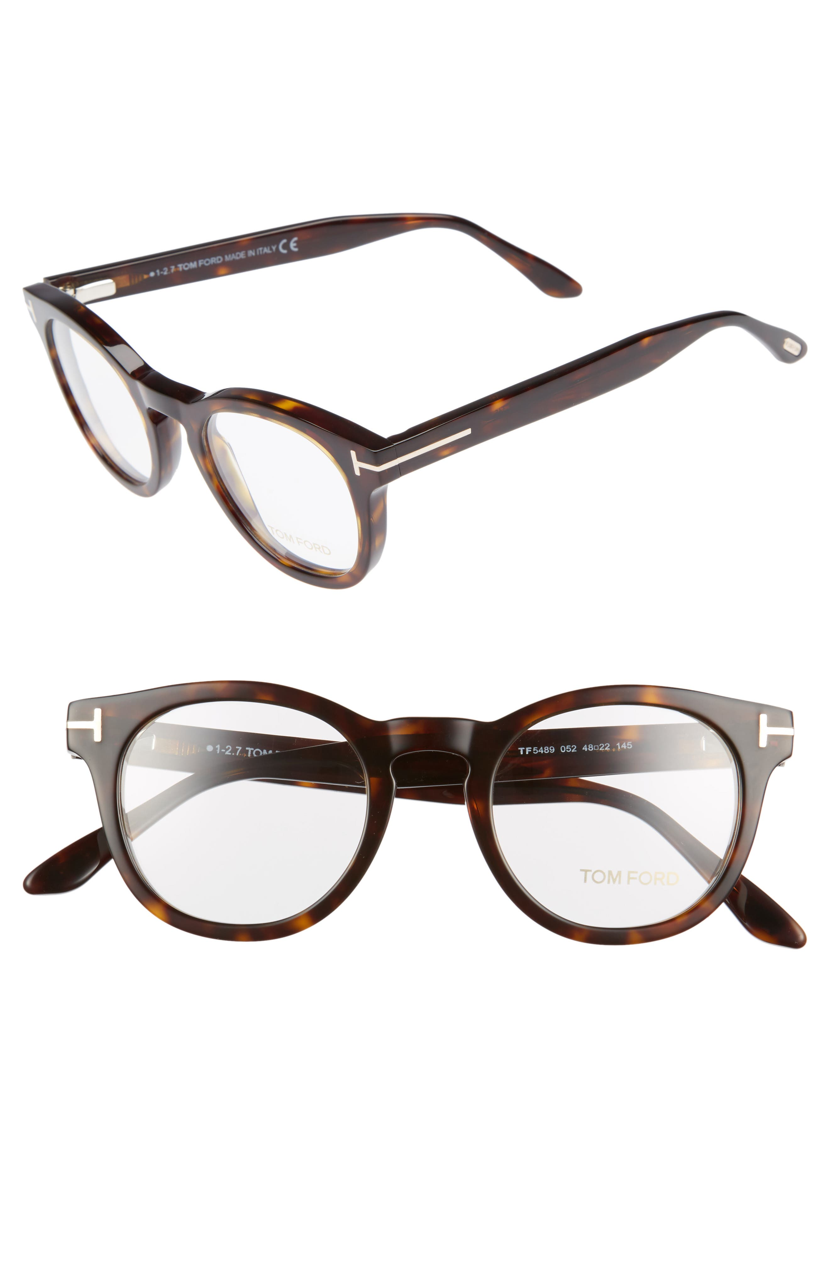 48mm Round Optical Glasses,                         Main,                         color, Classic Dark Havana