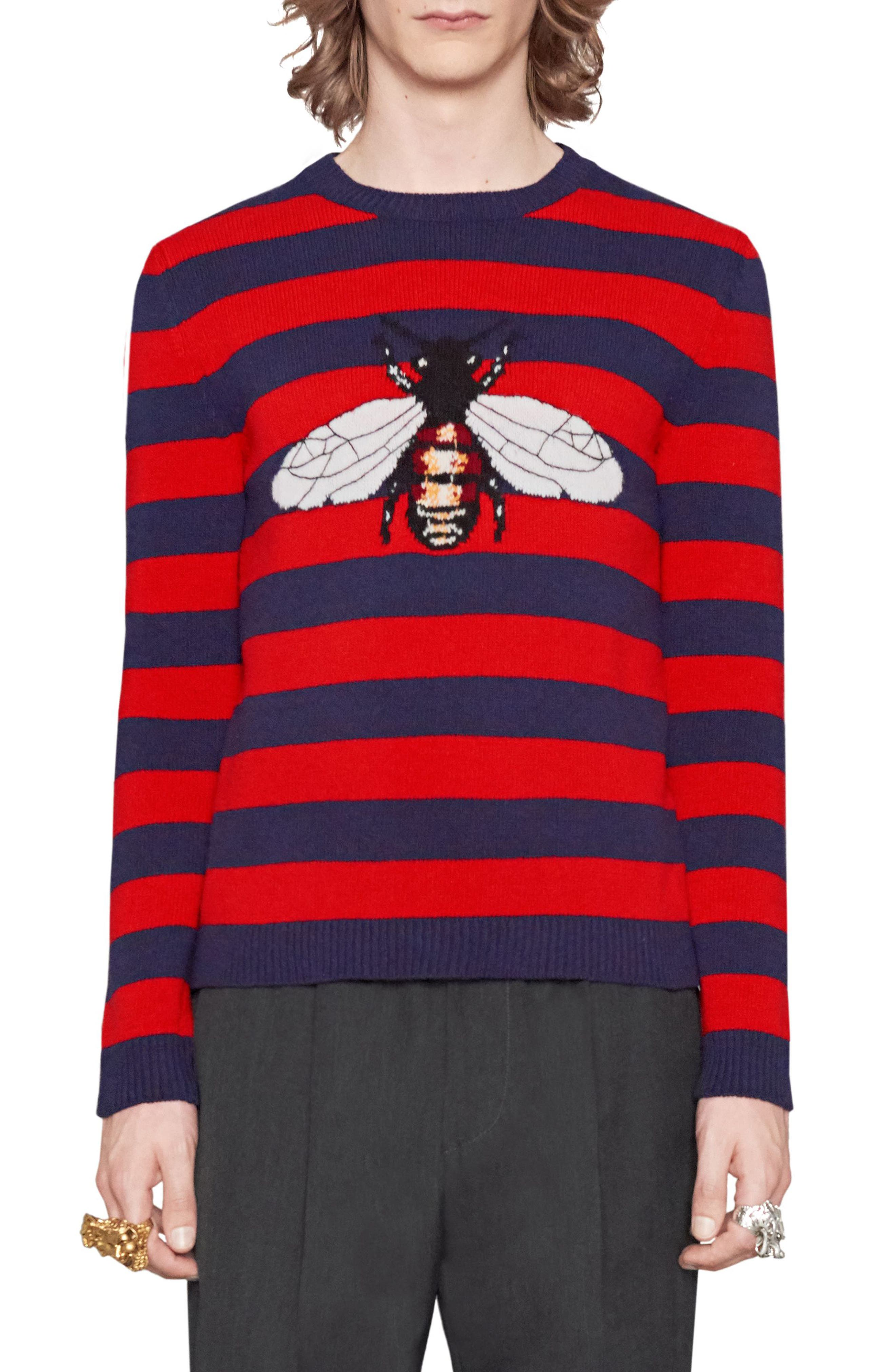 Stripe Bee Wool Crewneck Sweater,                         Main,                         color, Red