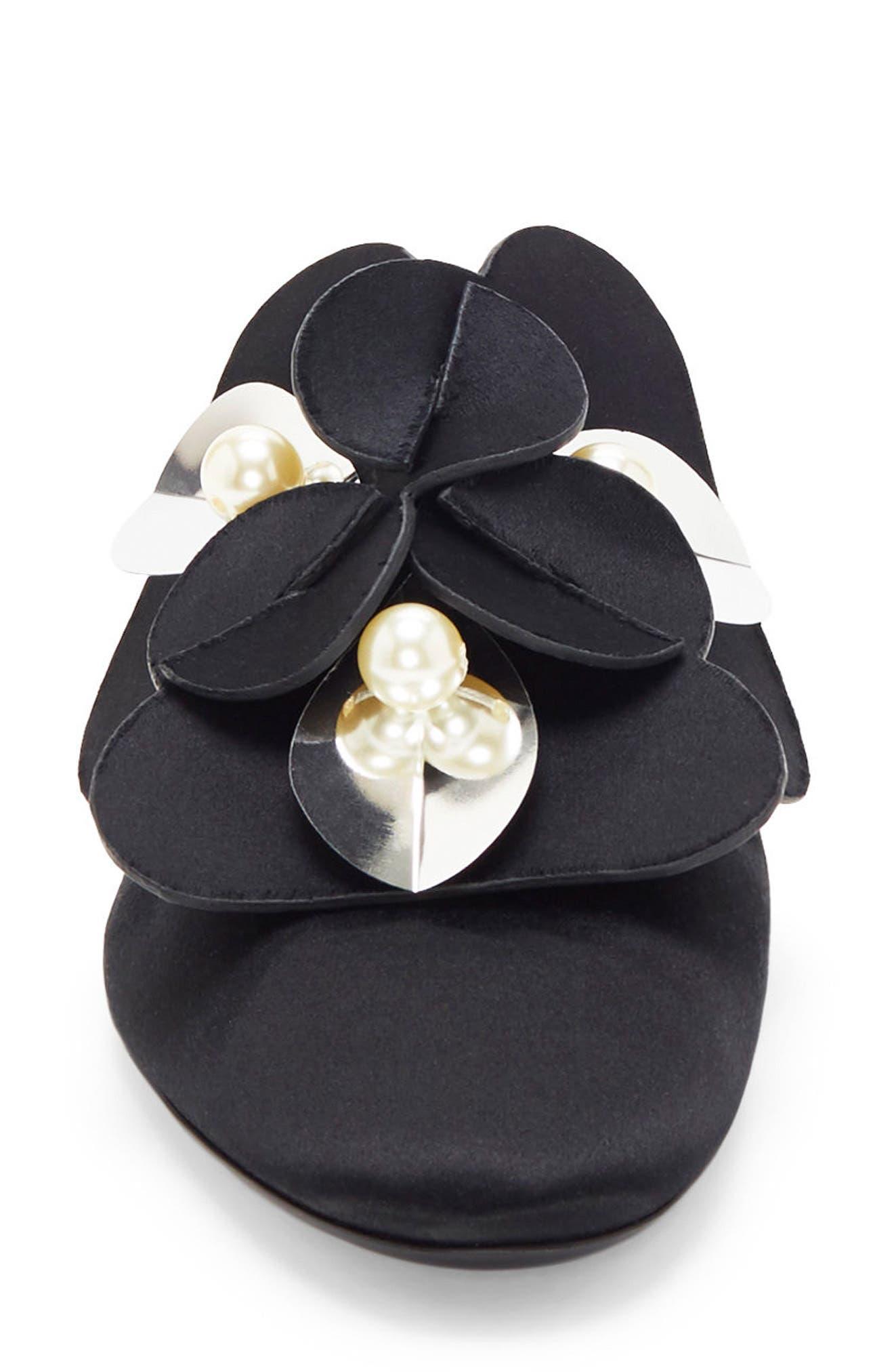 Corella Embellished Slide Sandal,                             Alternate thumbnail 3, color,                             Black
