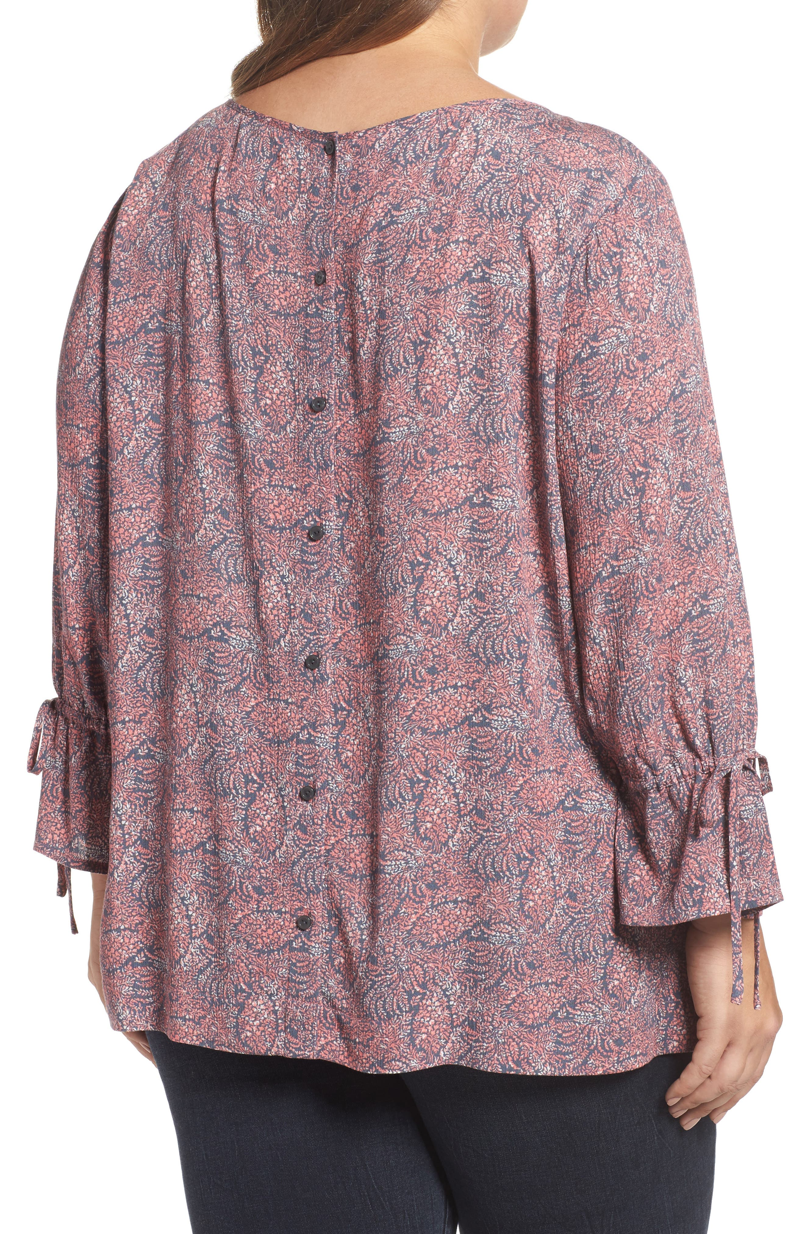 Tie Sleeve Print Top,                             Alternate thumbnail 2, color,                             Coral- Blue Blooming Floral