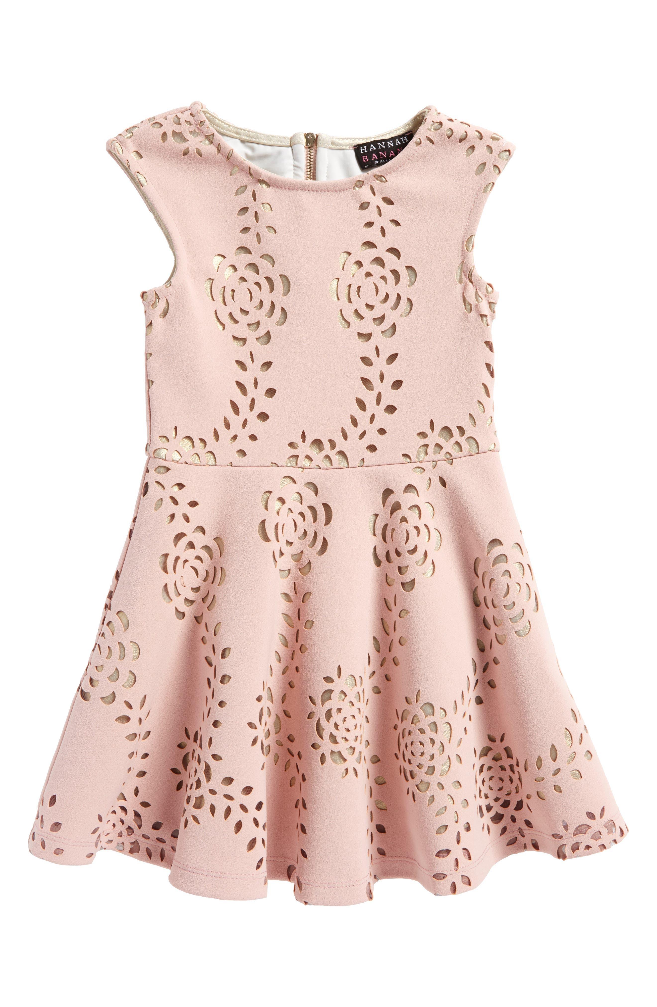 Laser Cut Scuba Dress,                             Main thumbnail 1, color,                             Blush Gold