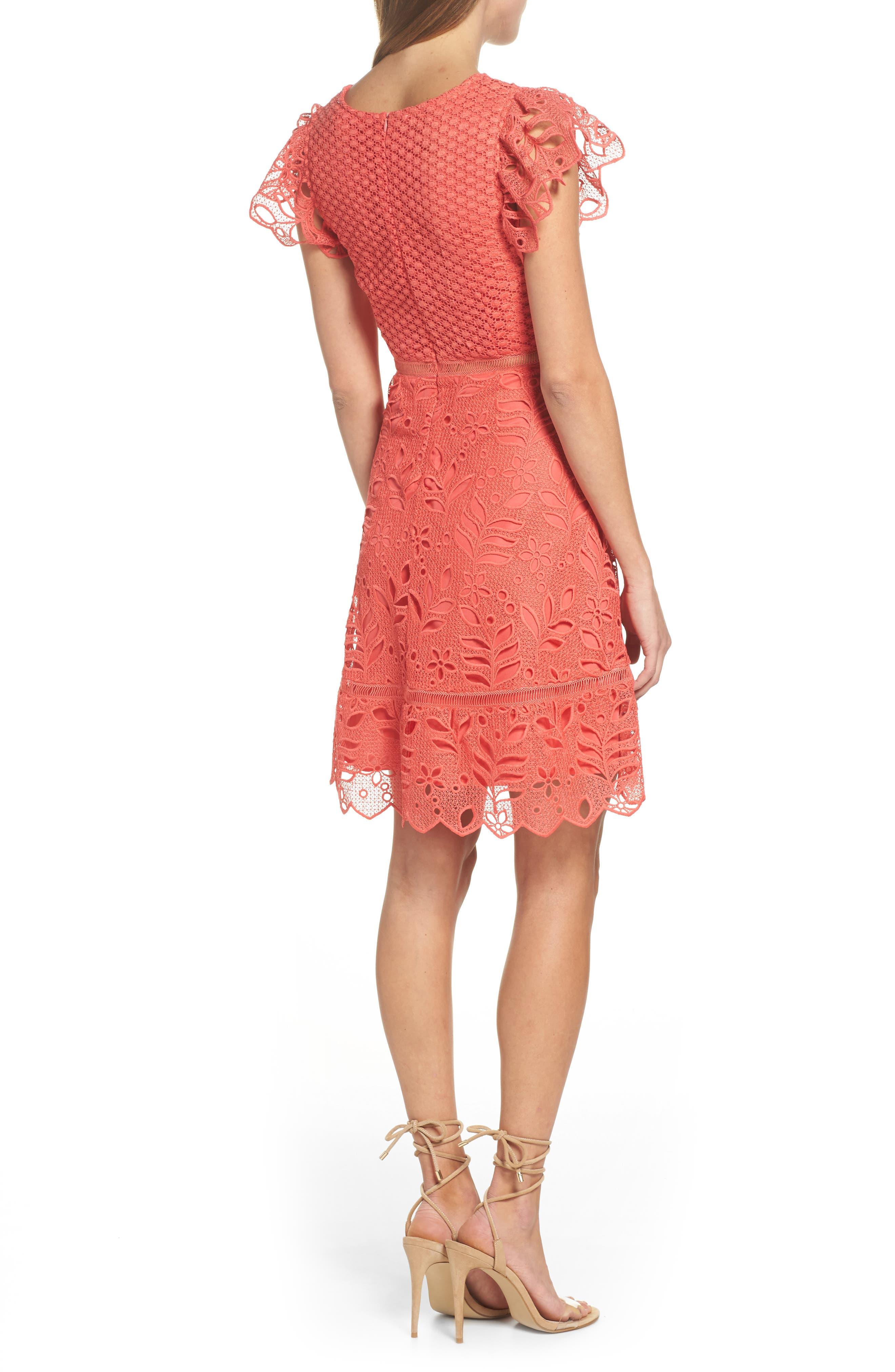 Ariane Mix Lace Dress,                             Alternate thumbnail 2, color,                             Cantaloupe