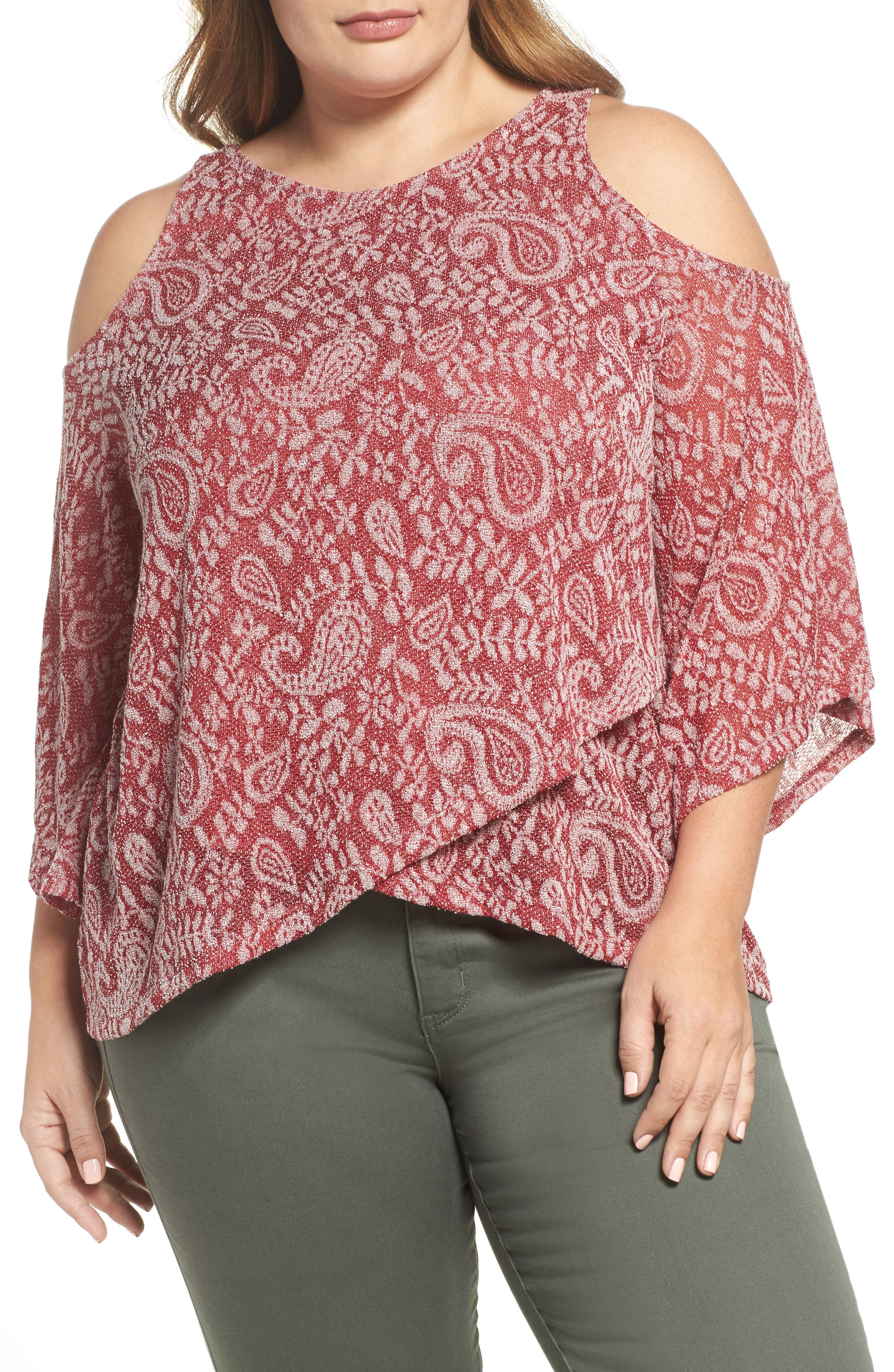 Main Image - Lucky Brand Cold Shoulder Paisley Top (Plus Size)