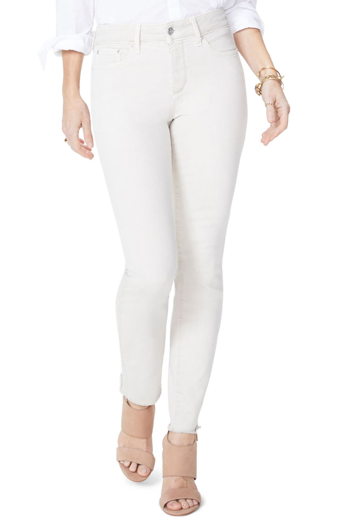 NYDJ Sheri Frayed Hem Stretch Slim Ankle Jeans