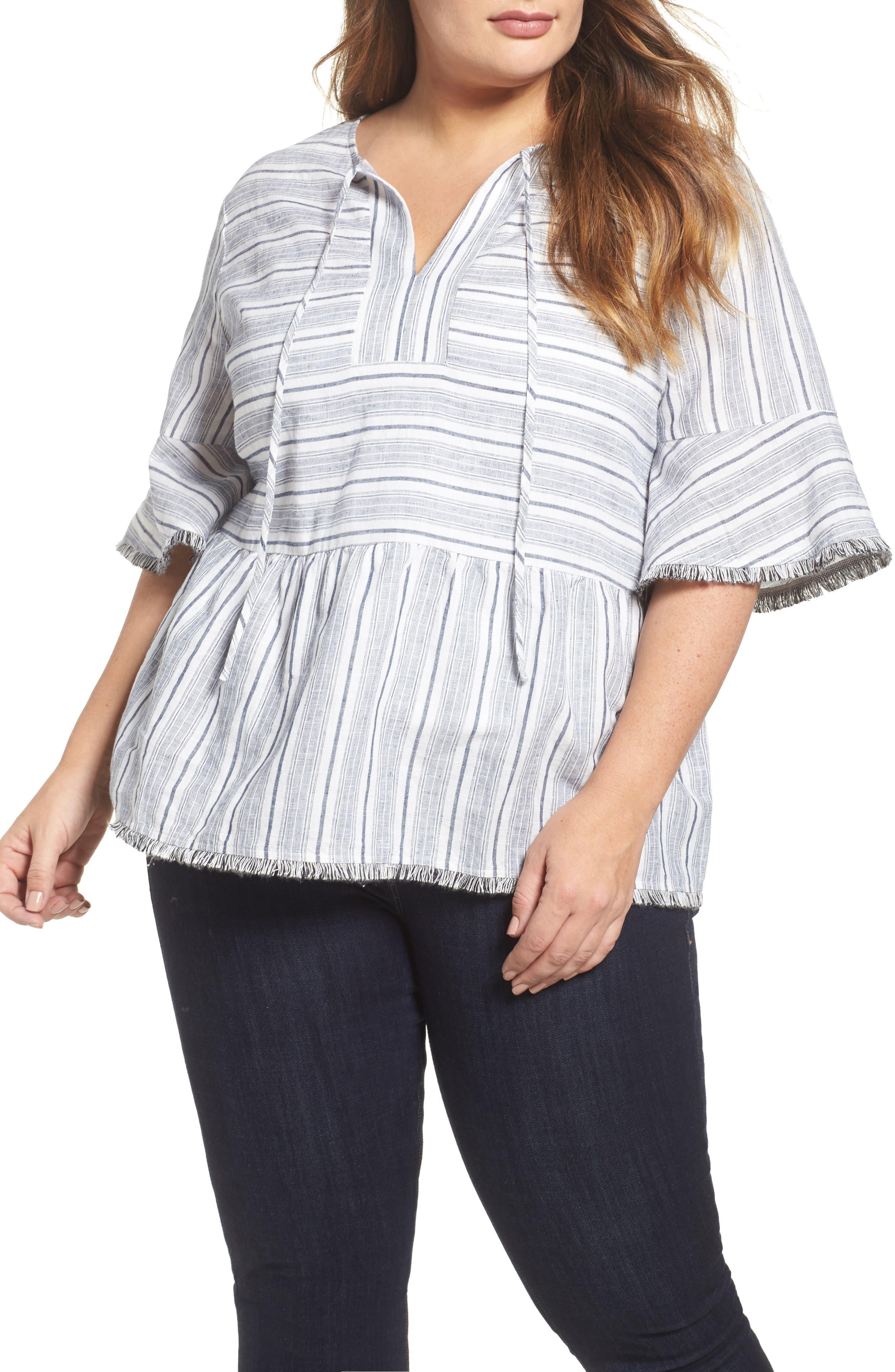 Stripe Fray Edge Linen Blend Top,                         Main,                         color, Ivory- Navy Stripe