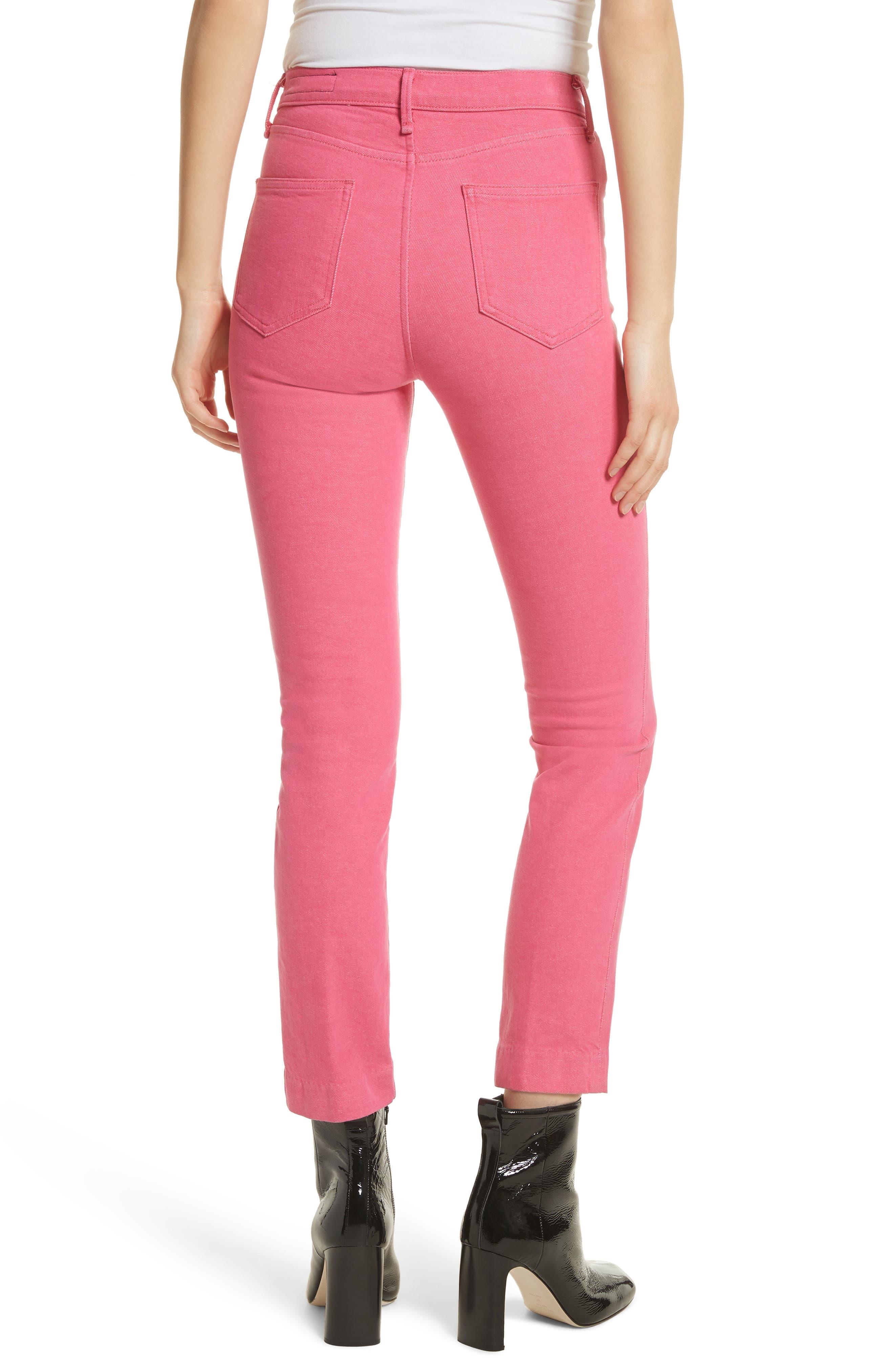 High Waist Ankle Cigarette Leg Jeans,                             Alternate thumbnail 2, color,                             Bull Pink
