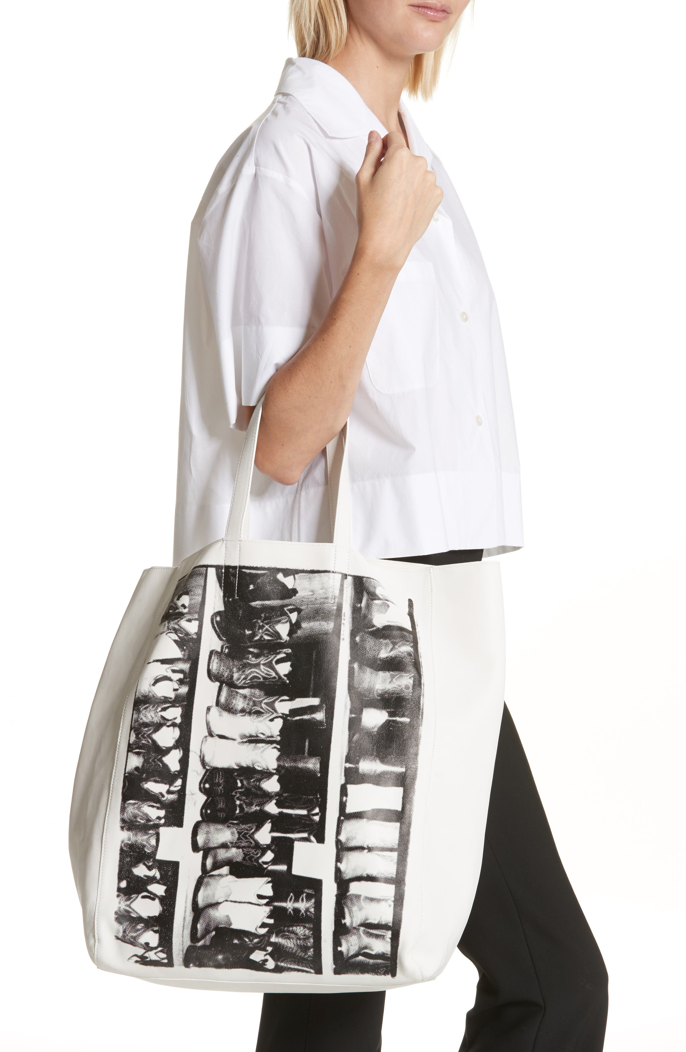 x Andy Warhol Foundation Boots Leather Tote,                             Alternate thumbnail 2, color,                             White/ Black