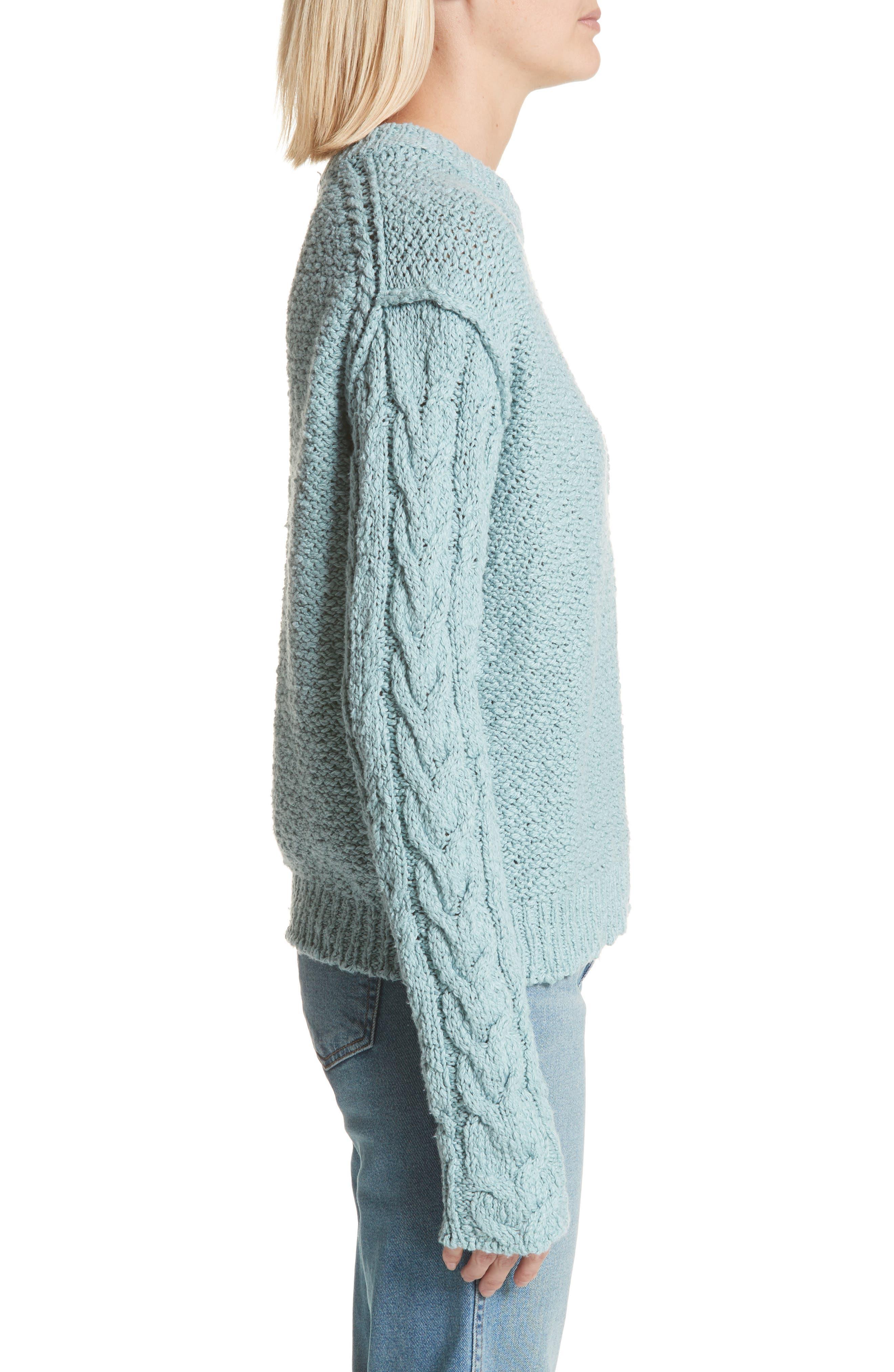Hila Cable Sleeve Sweater,                             Alternate thumbnail 3, color,                             Blue