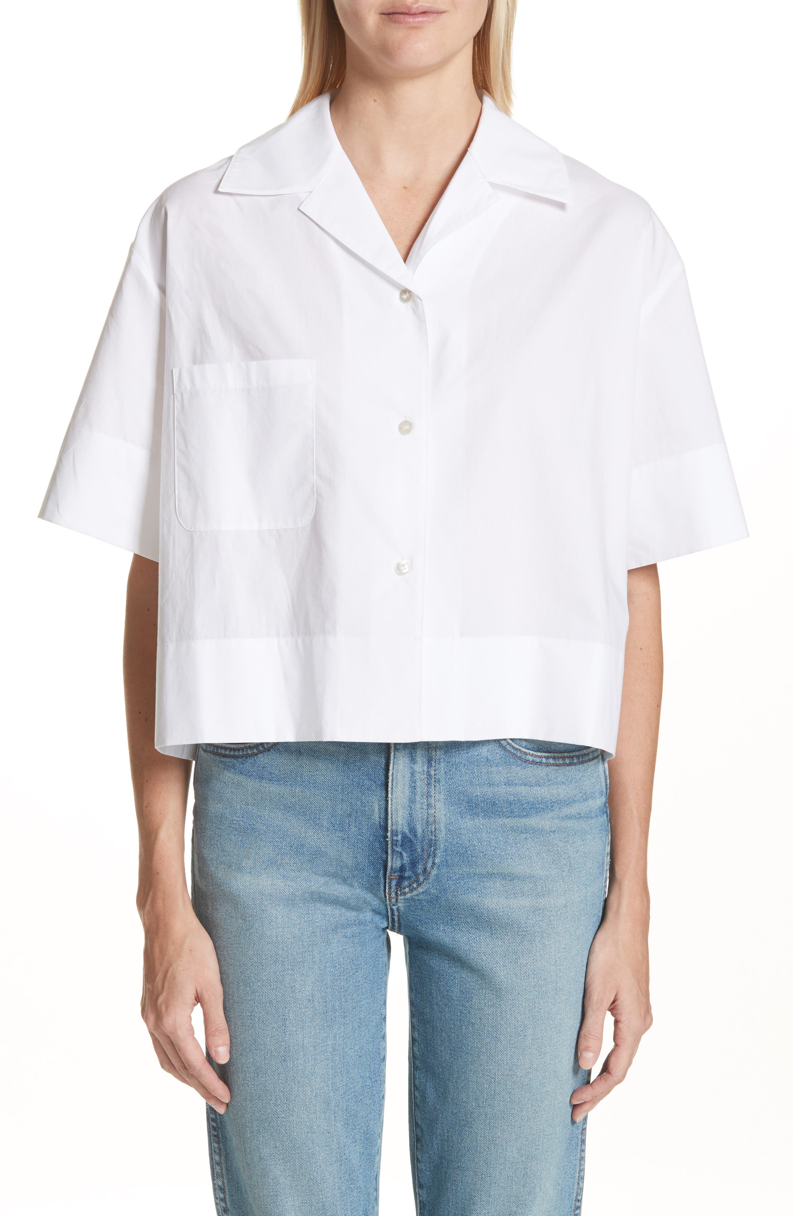 Lelia Crop Blouse,                         Main,                         color, White