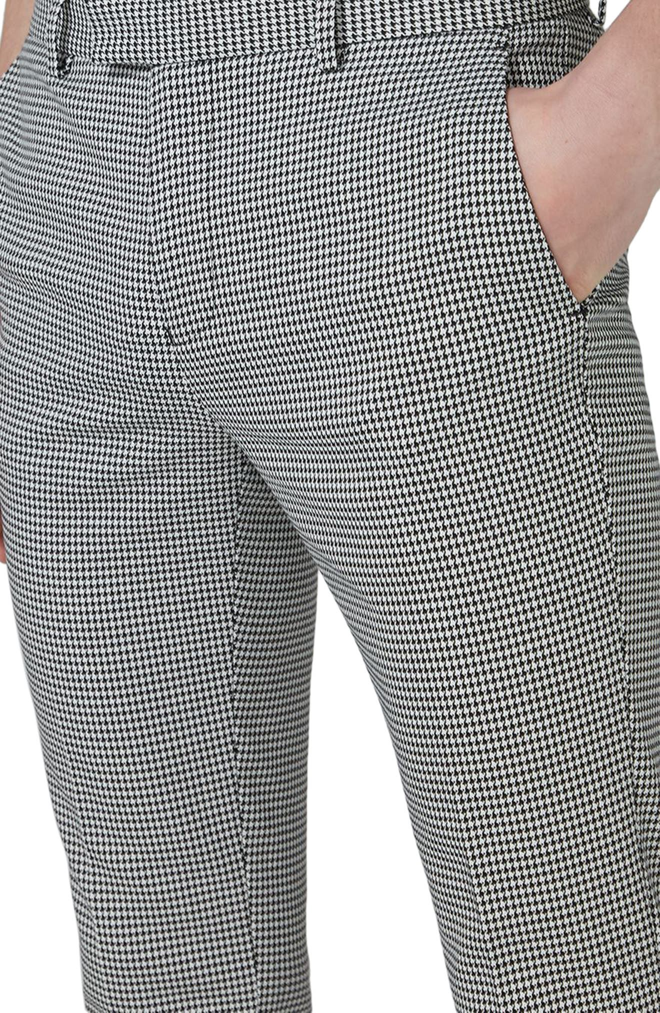 Ultra Skinny Fit Houndstooth Suit Trousers,                             Alternate thumbnail 4, color,                             Black Multi