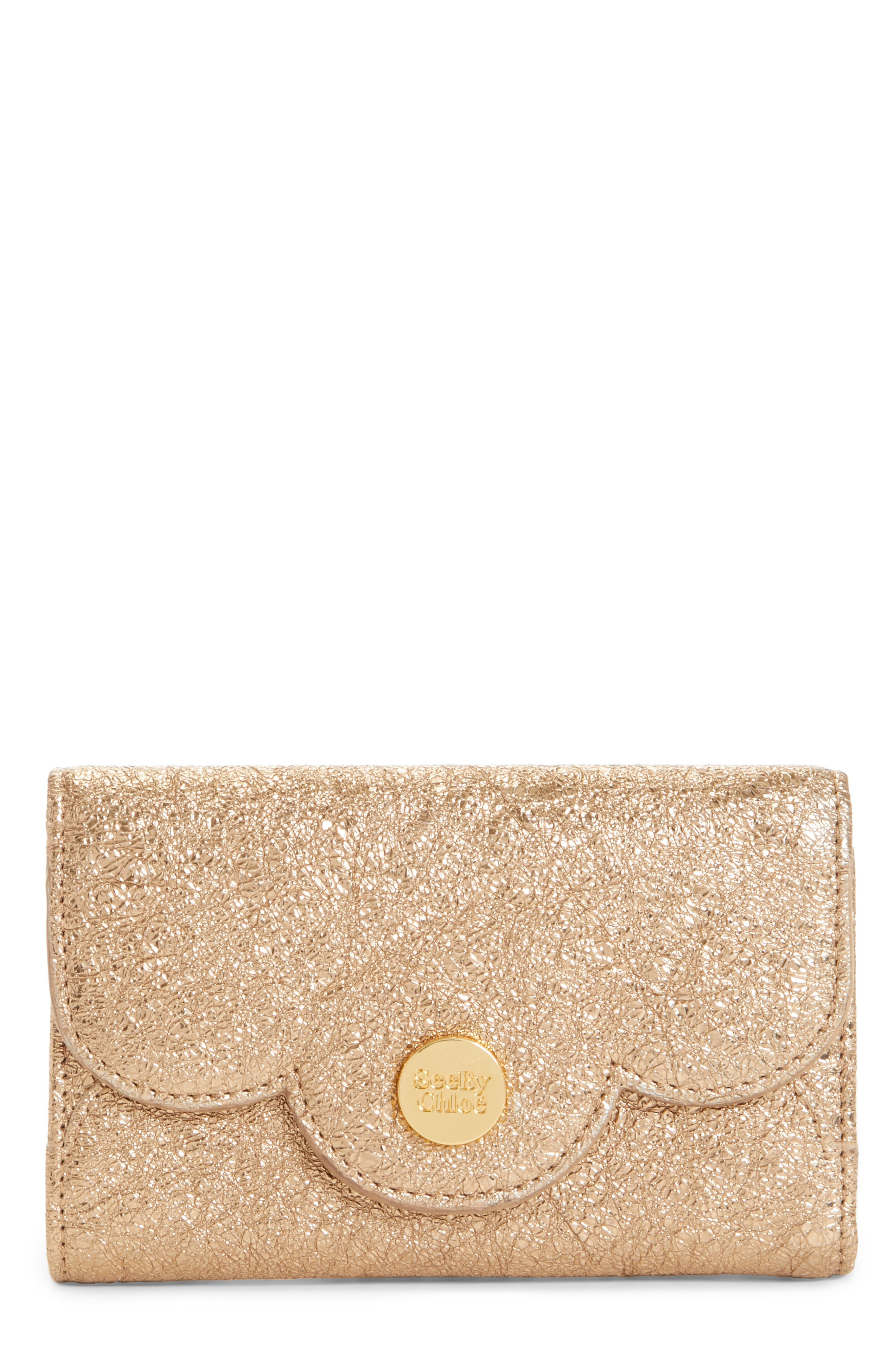 See by Chloé Polina Metallic Leather Mini Wallet