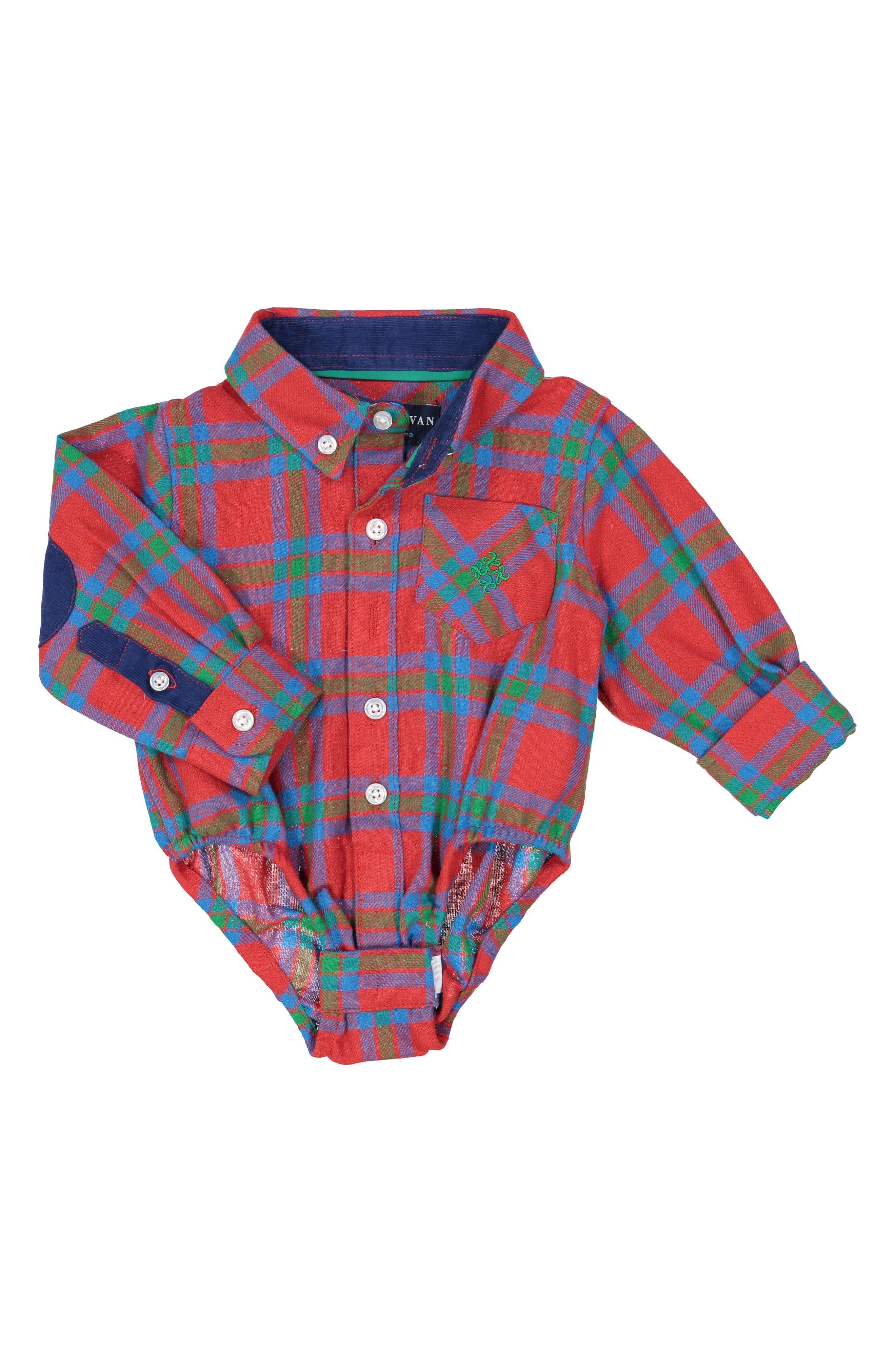 Alternate Image 1 Selected - Andy & Evan Shirtzie Flannel Shirtzie Bodysuit (Baby Boys)