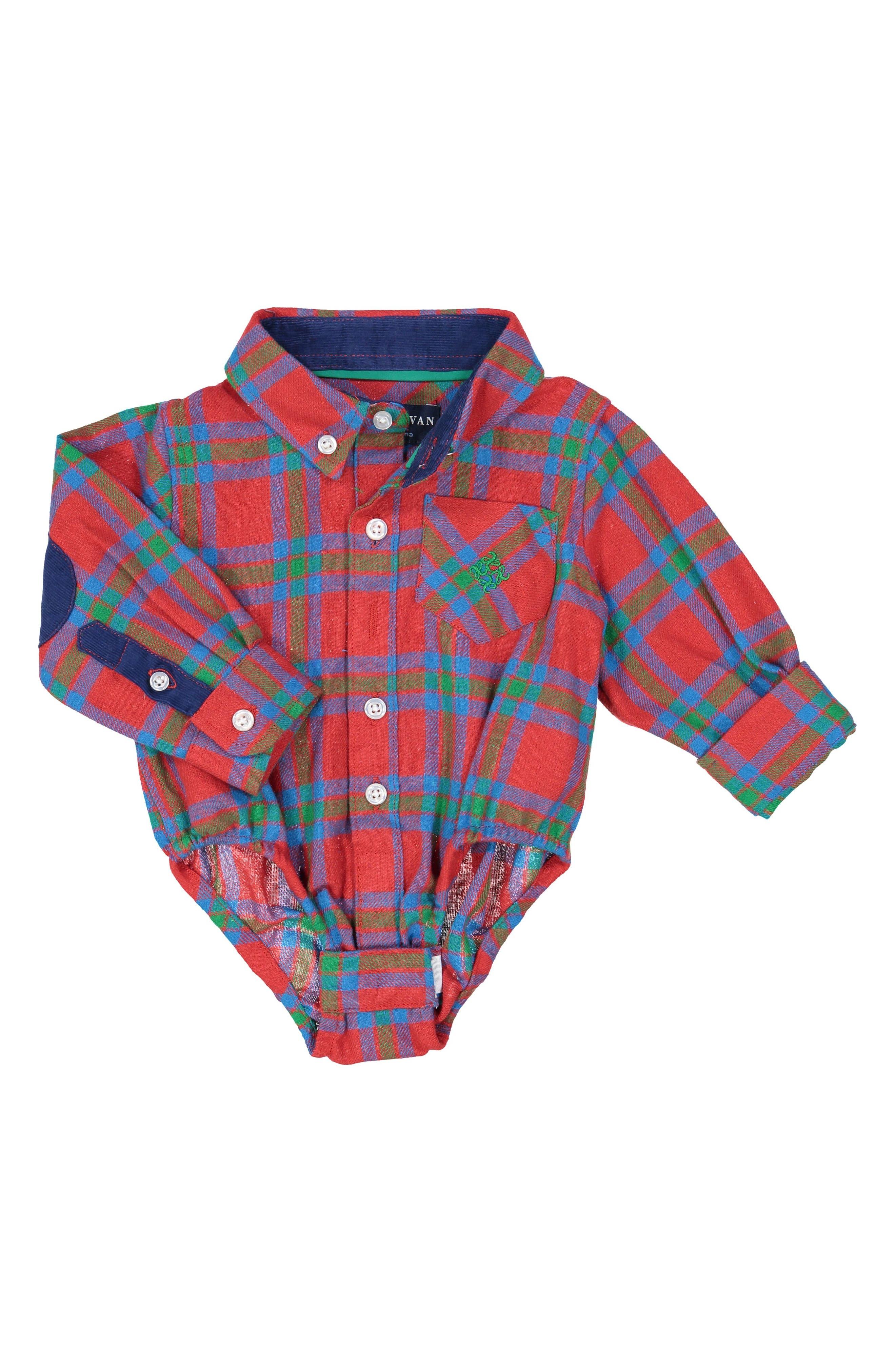 Main Image - Andy & Evan Shirtzie Flannel Shirtzie Bodysuit (Baby Boys)