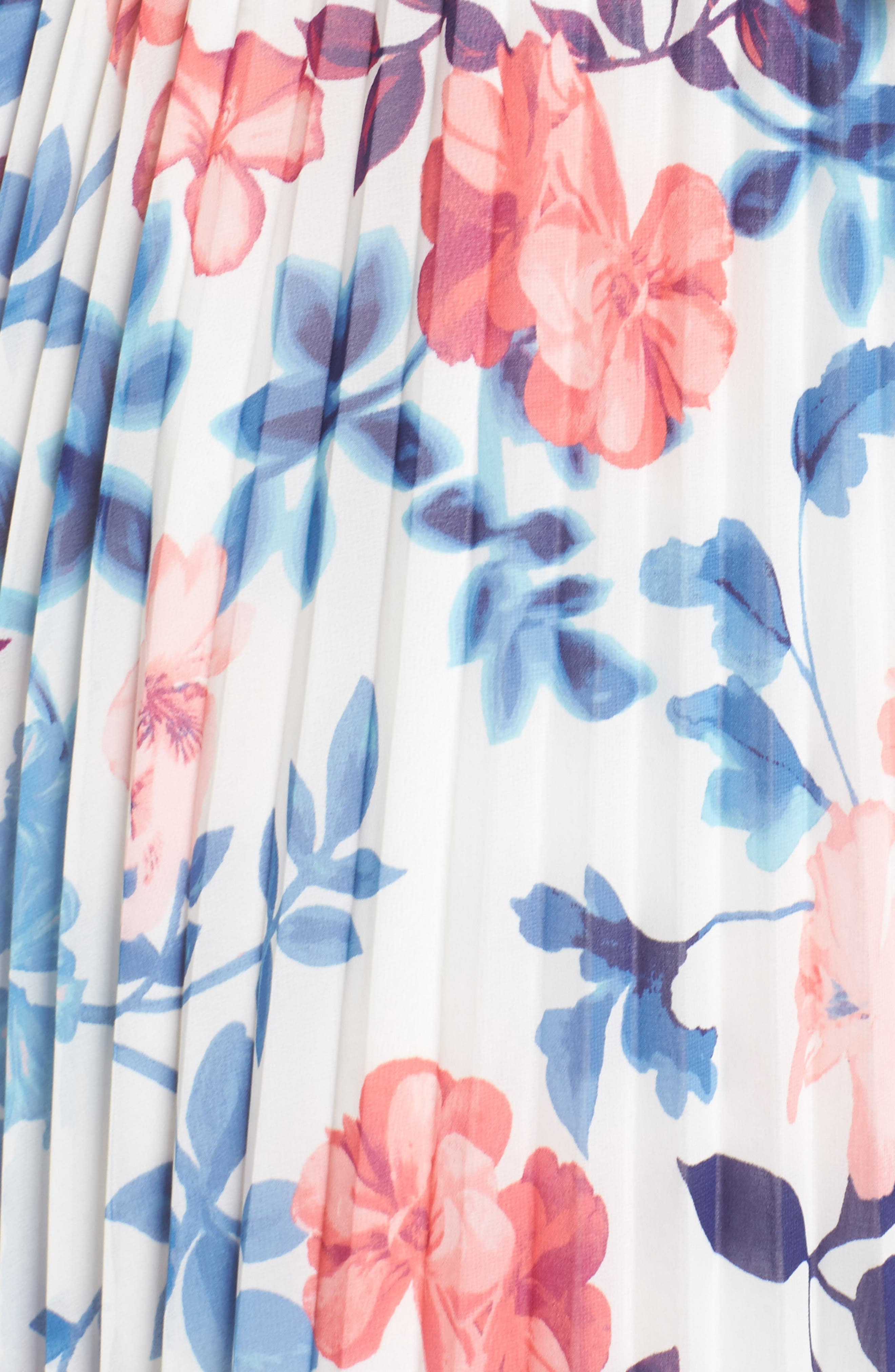 Off the Shoulder Maxi Dress,                             Alternate thumbnail 5, color,                             Ivory Blue