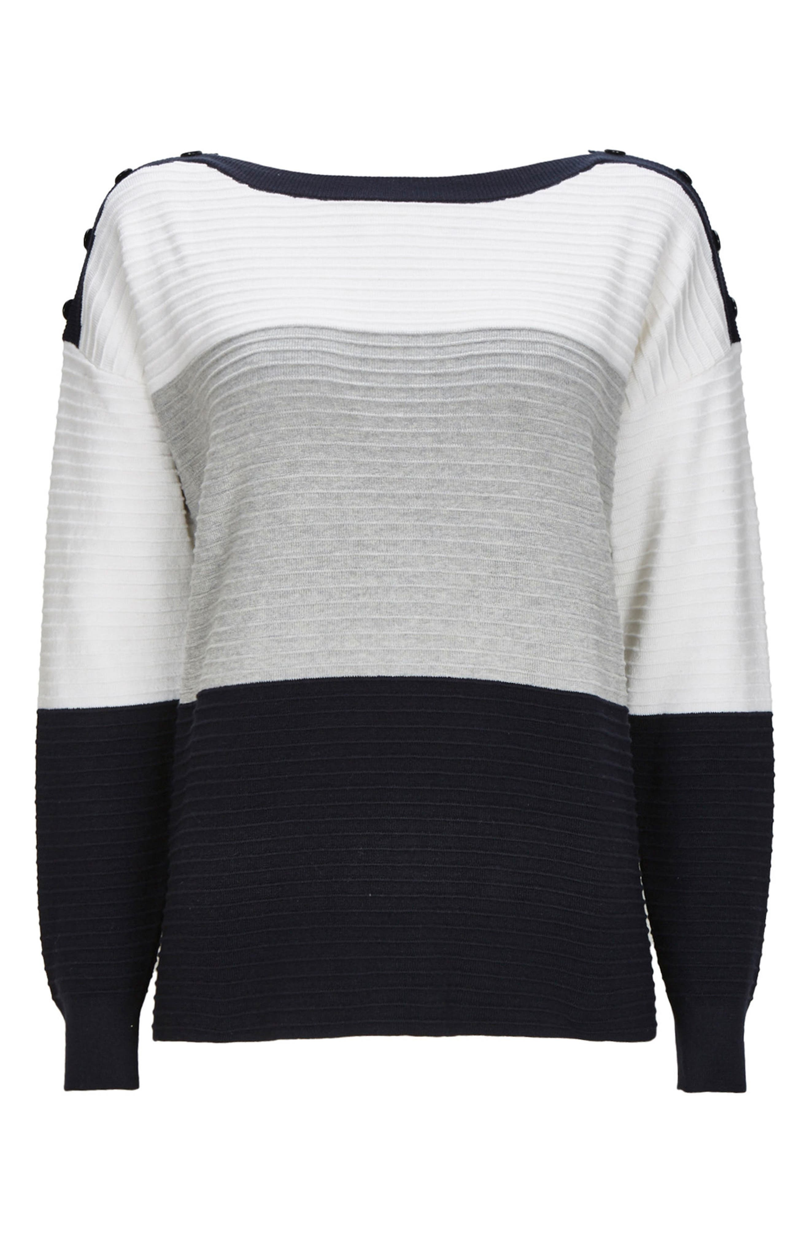 Colorblock Ottoman Knit Sweater,                             Main thumbnail 1, color,                             Ivory