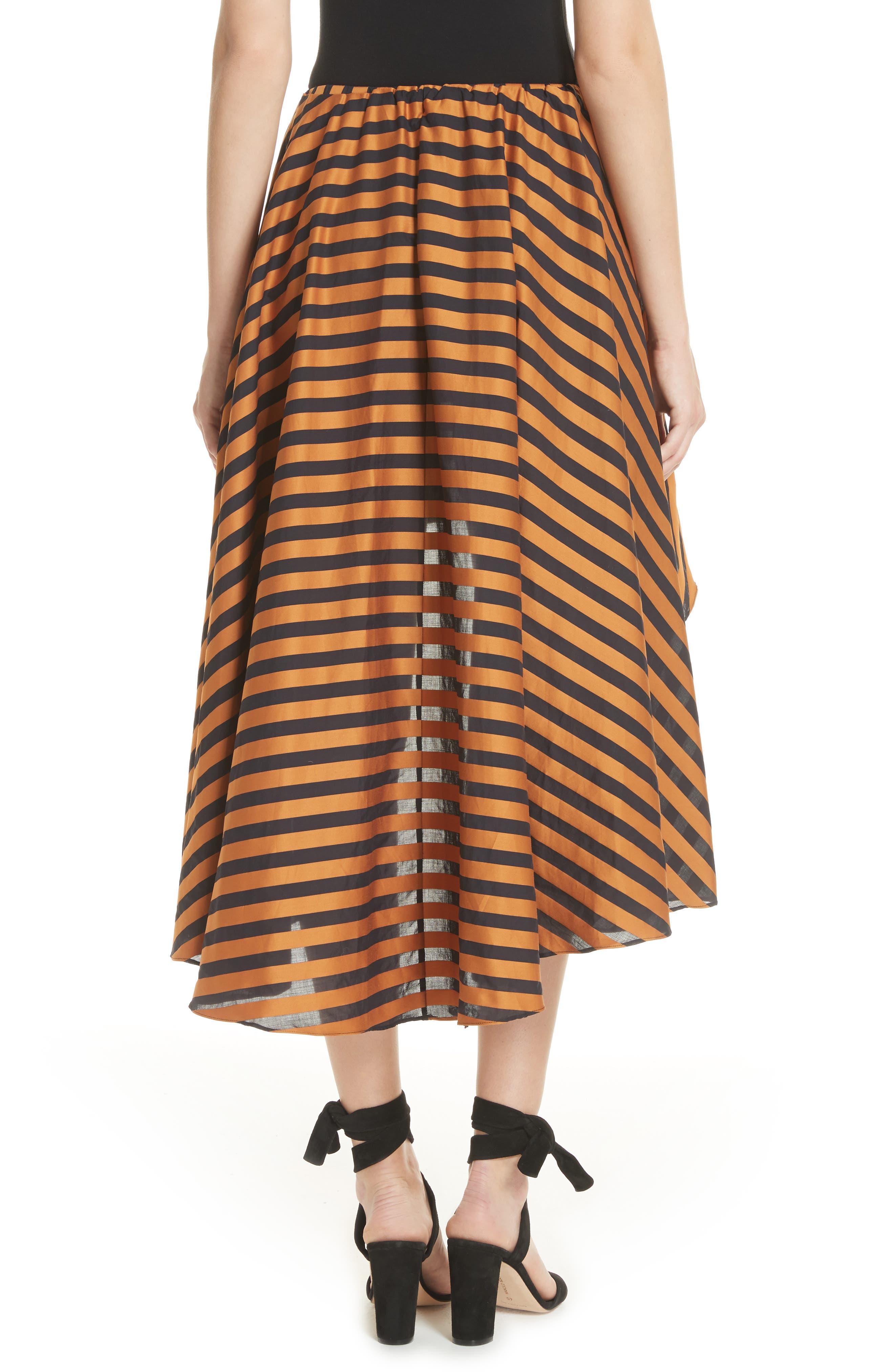 Adelle Ruffle High/Low Skirt,                             Alternate thumbnail 2, color,                             Bronze Black