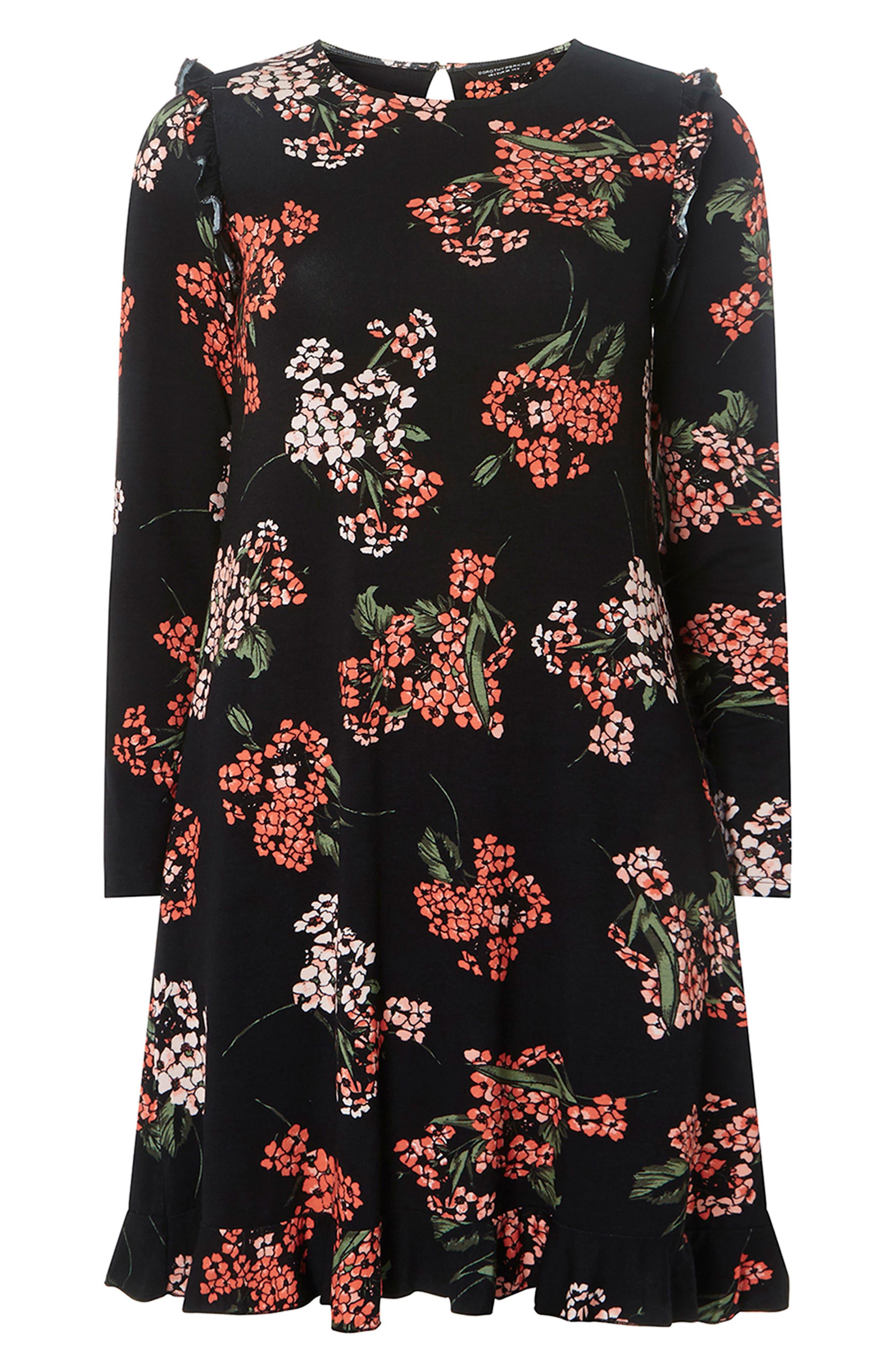 Floral Swing Dress,                             Alternate thumbnail 5, color,                             Black