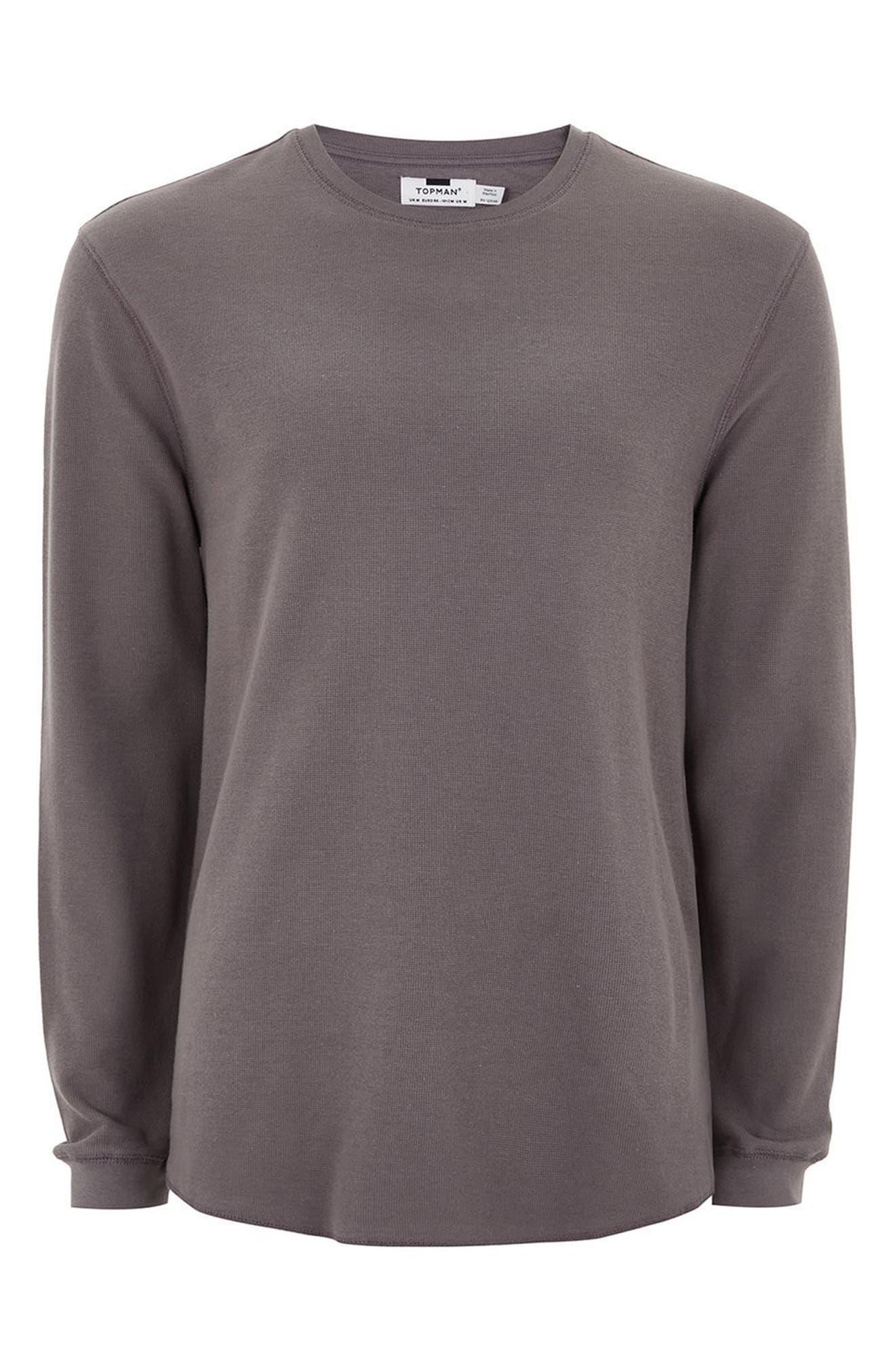 Waffle Knit Long Sleeve T-Shirt,                             Alternate thumbnail 4, color,                             Purple