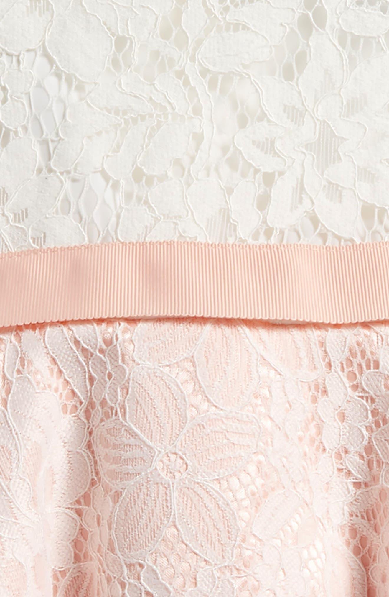 Cap Sleeve Lace Dress,                             Alternate thumbnail 3, color,                             Rosewater