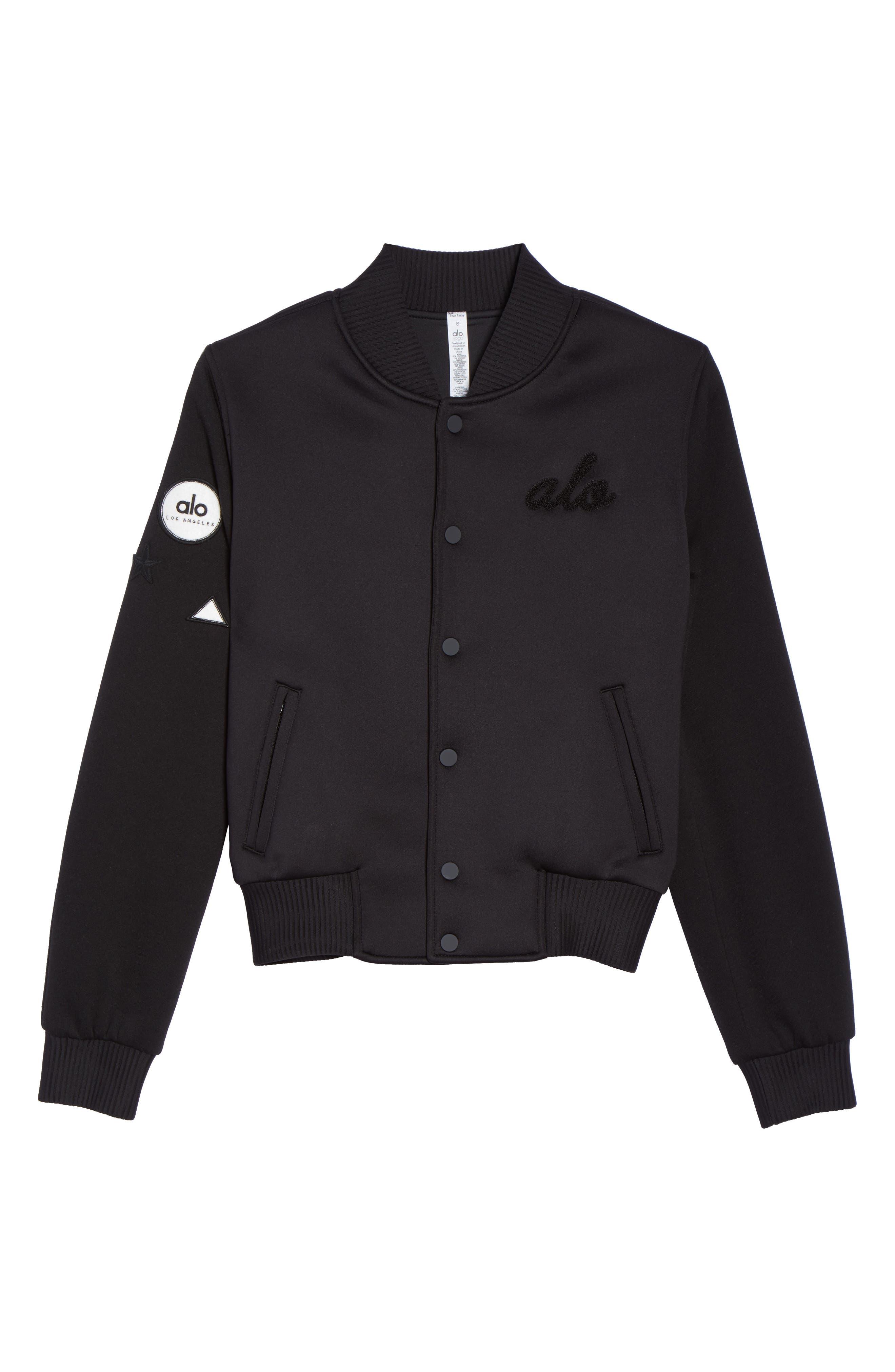 League Varsity Jacket,                             Alternate thumbnail 7, color,                             Black/ Alo Patches