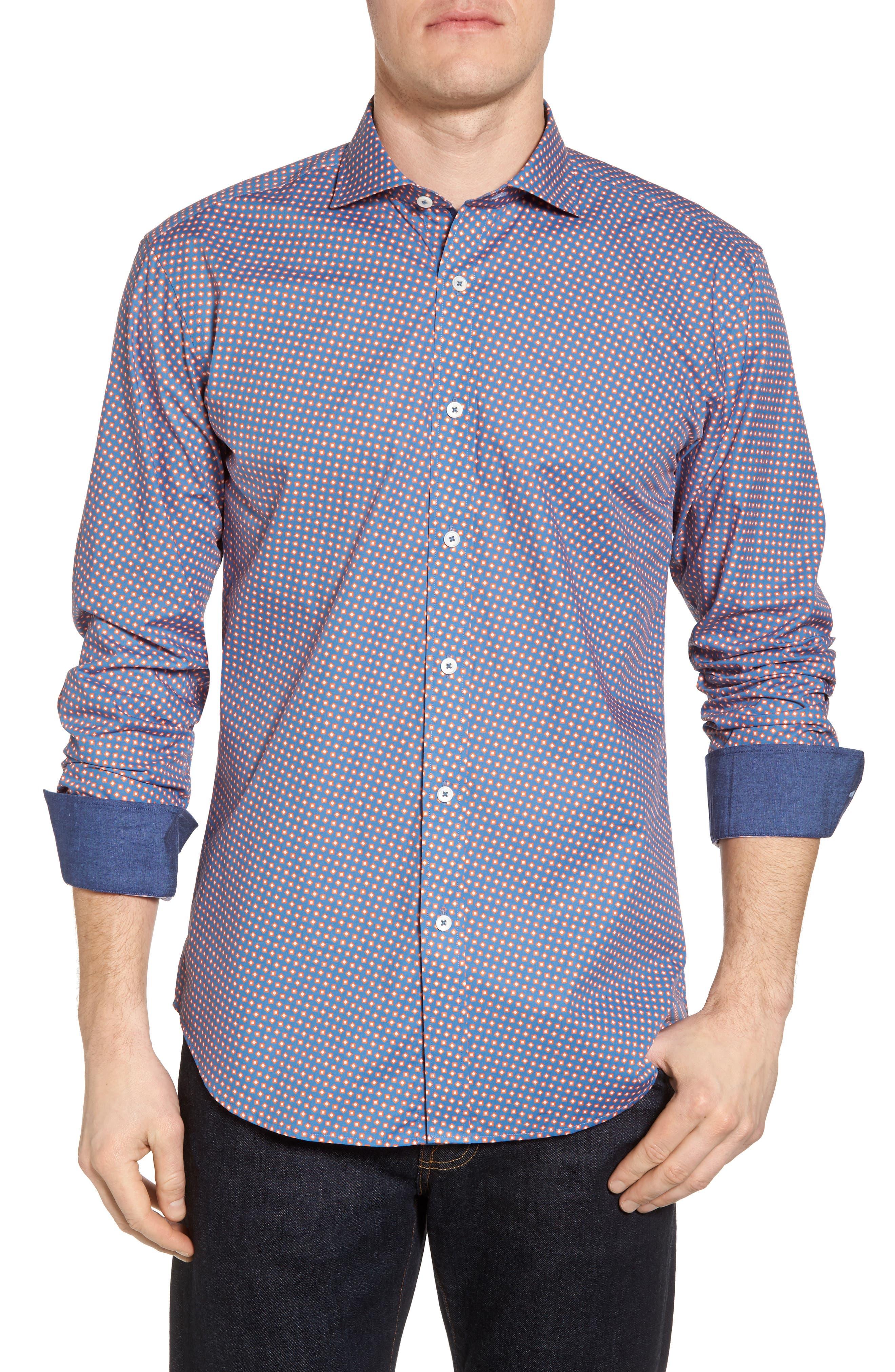 Slim Fit Print Sport Shirt,                         Main,                         color, Tangerine
