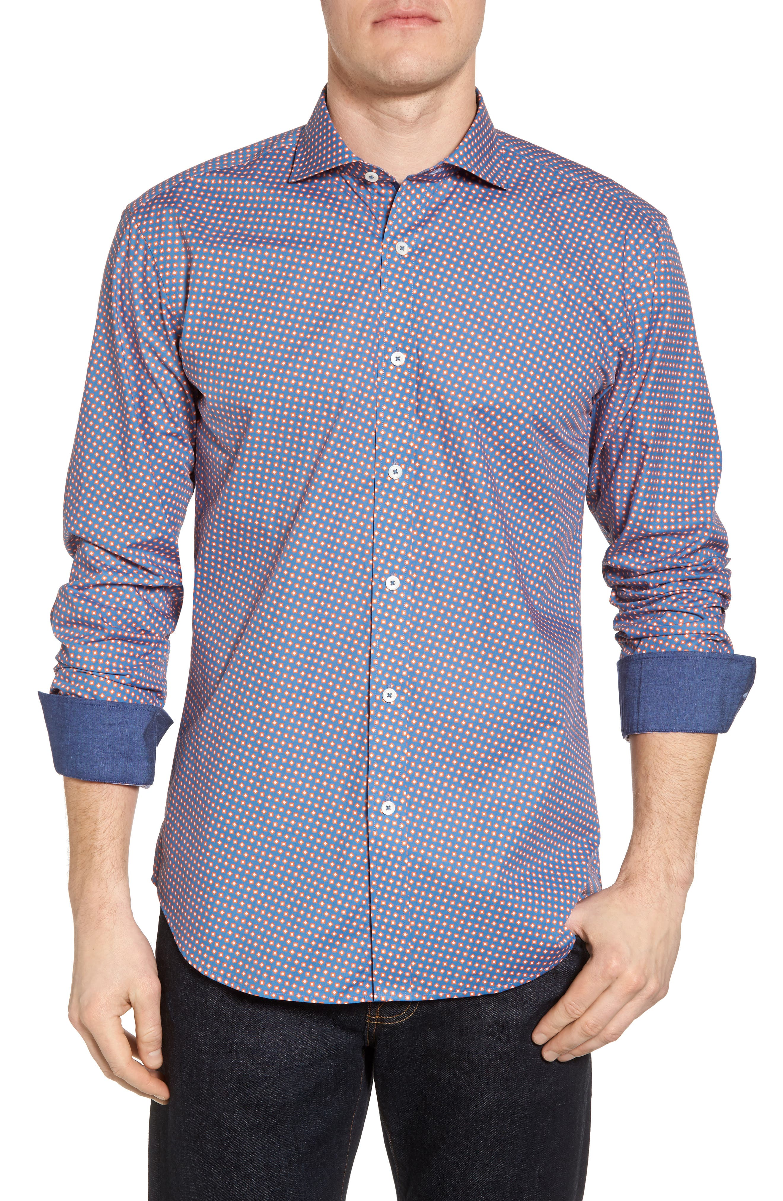 Bugatchi Slim Fit Print Sport Shirt