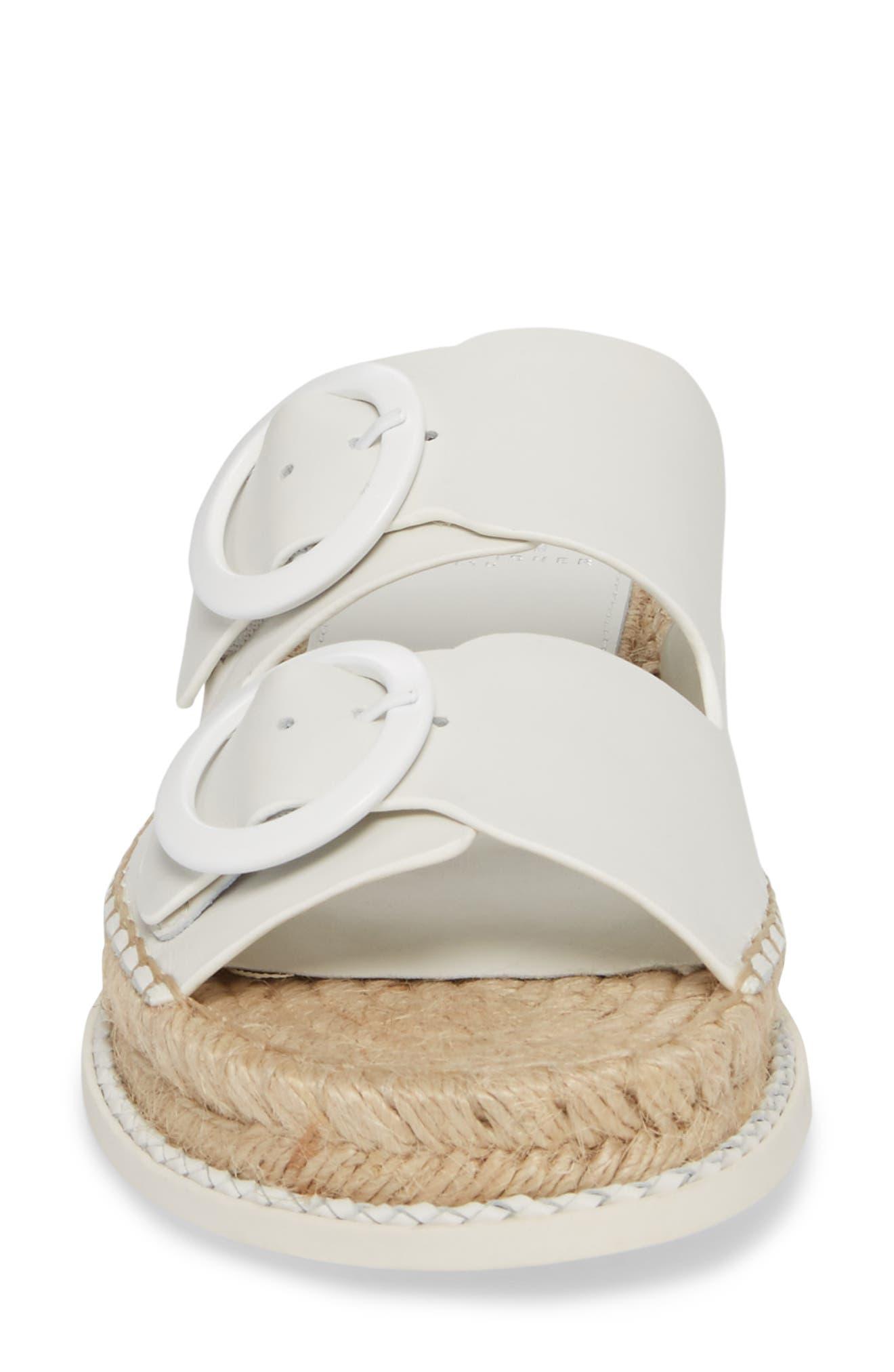 Ramba Espadrille Slide Sandal,                             Alternate thumbnail 4, color,                             White Leather
