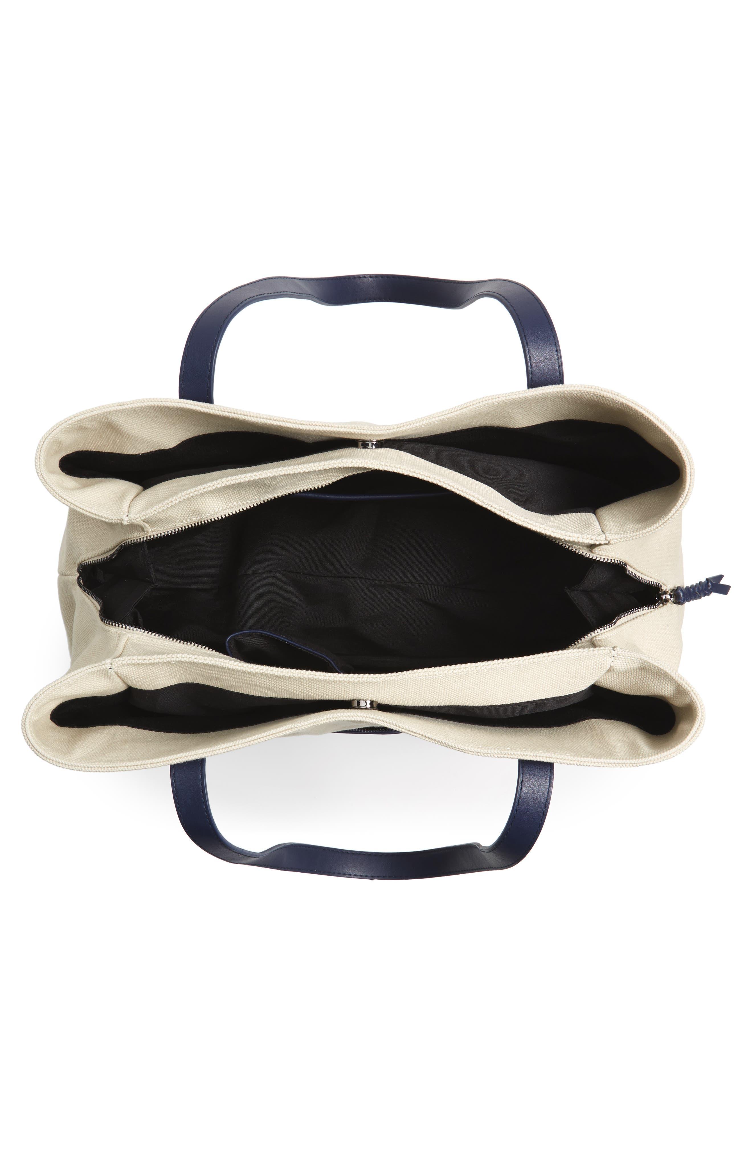 Two Toned Weekender Bag,                             Alternate thumbnail 4, color,                             Cream/ Navy