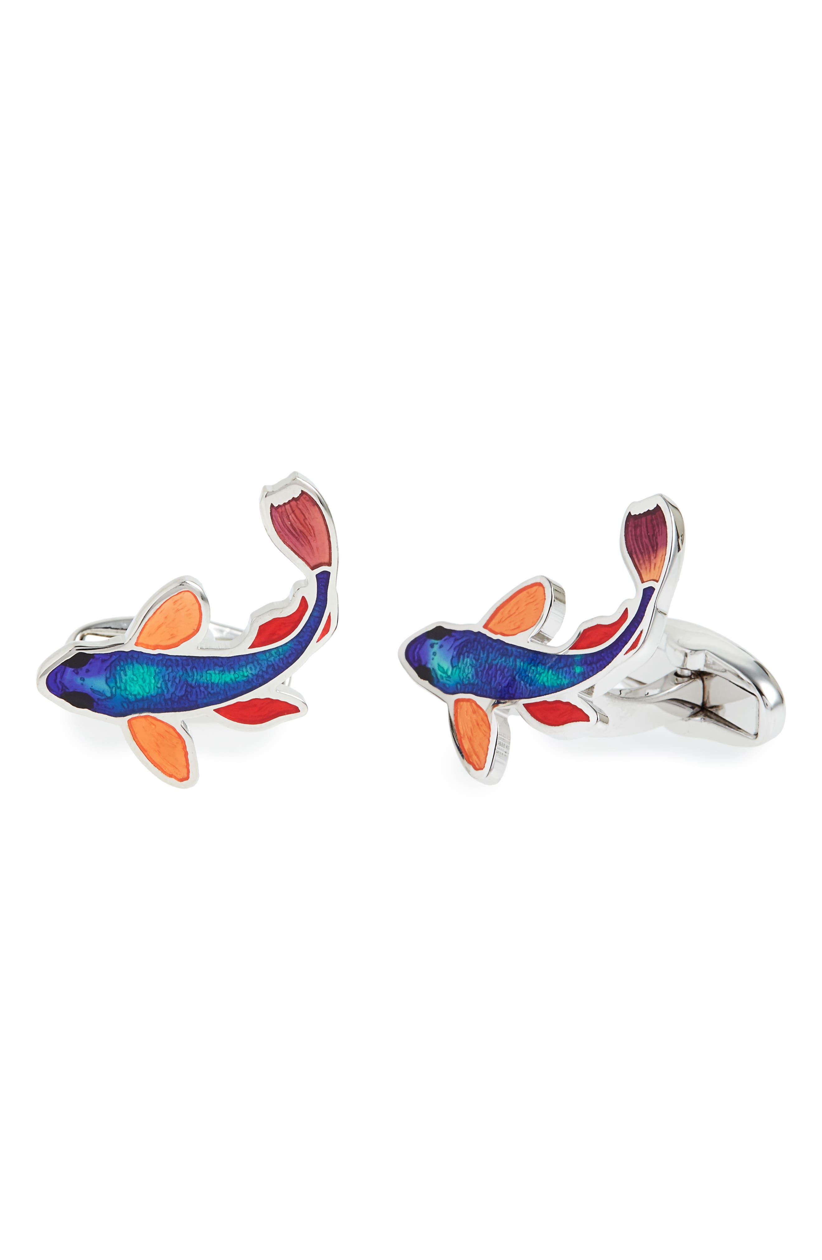 Fish Cuff Links,                         Main,                         color, Light Blue
