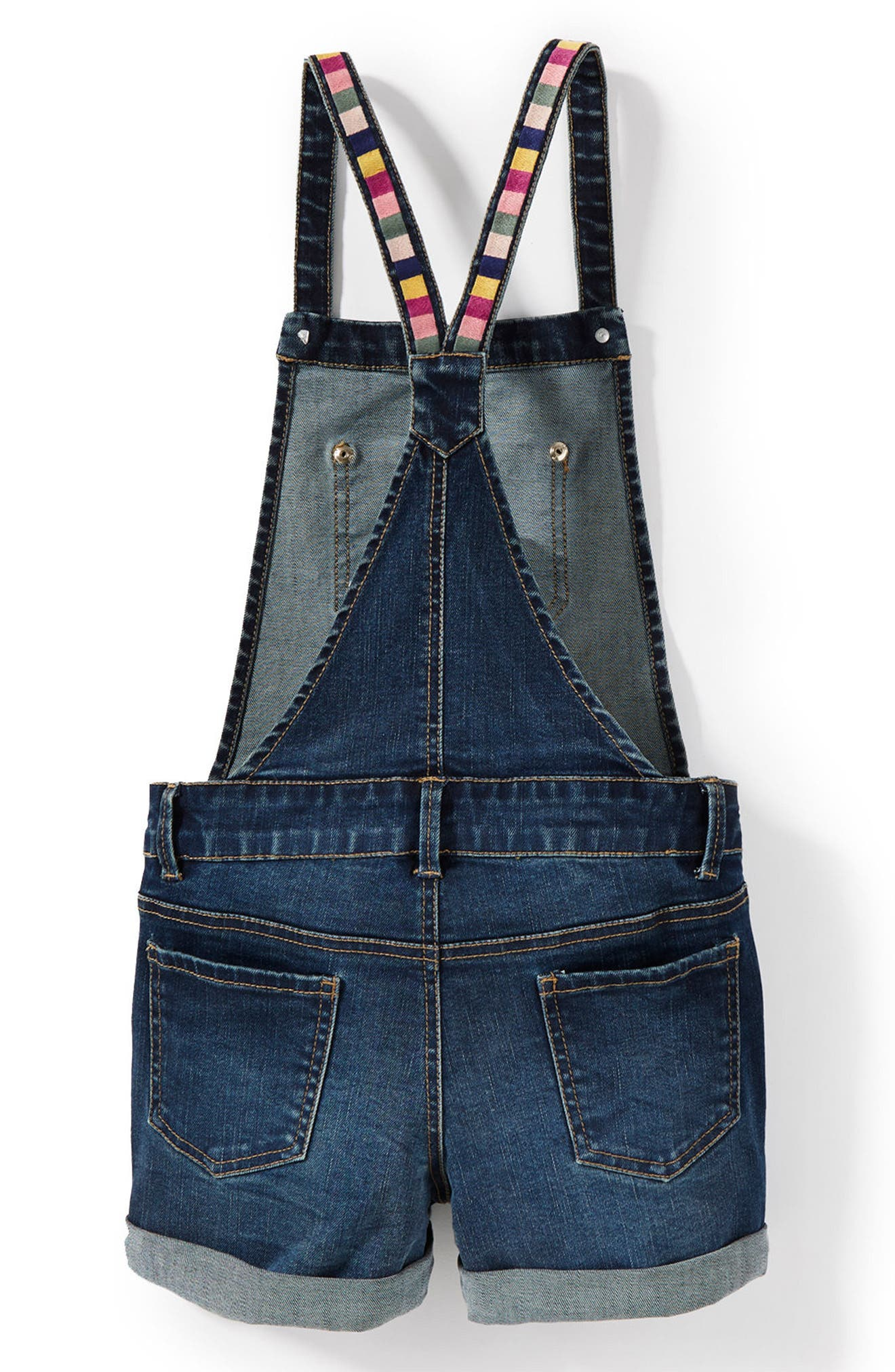 Embroidered Short Overalls,                             Alternate thumbnail 2, color,                             Indigo