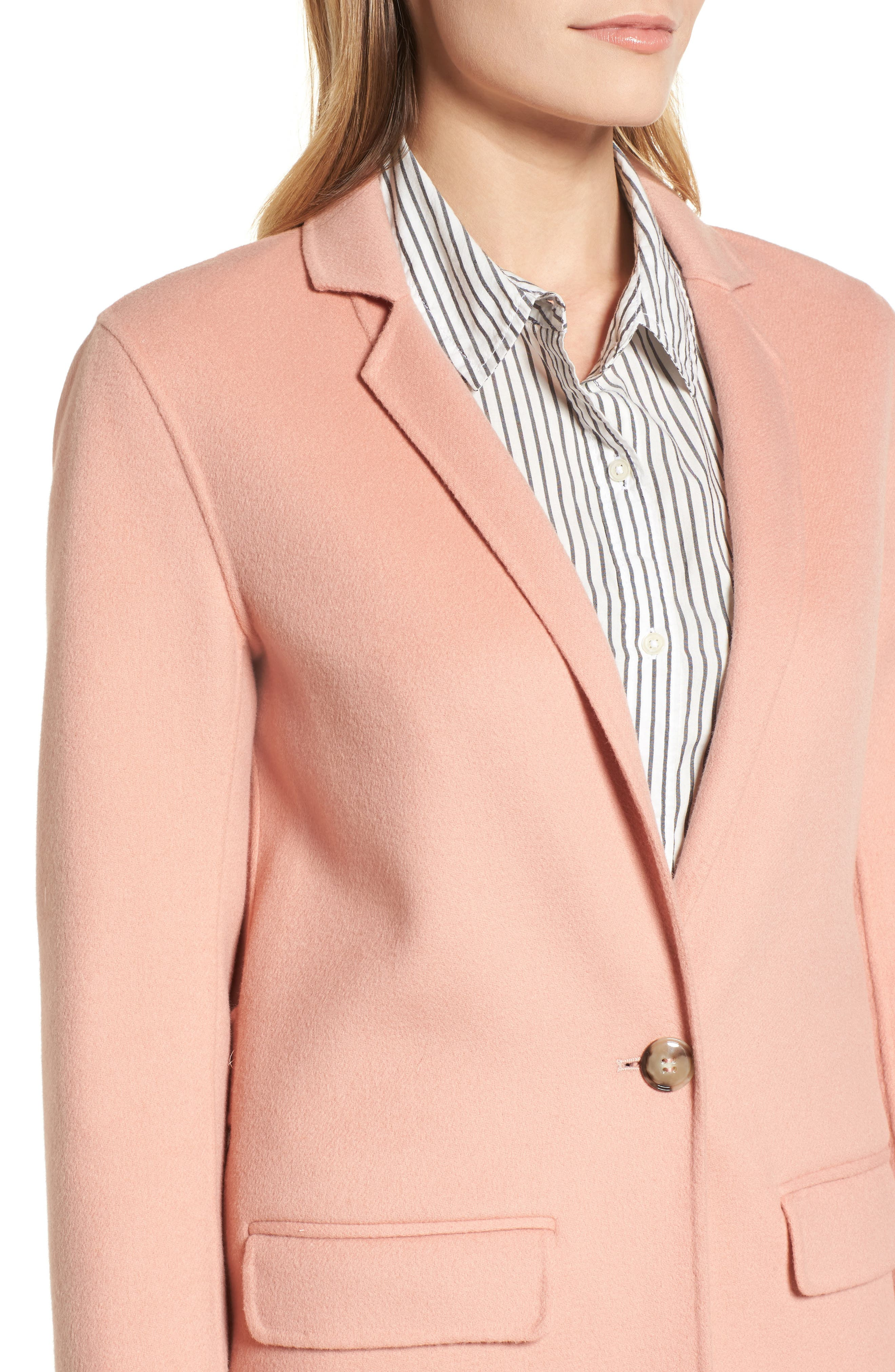 Double-Face Wool Jacket,                             Alternate thumbnail 4, color,                             Peach