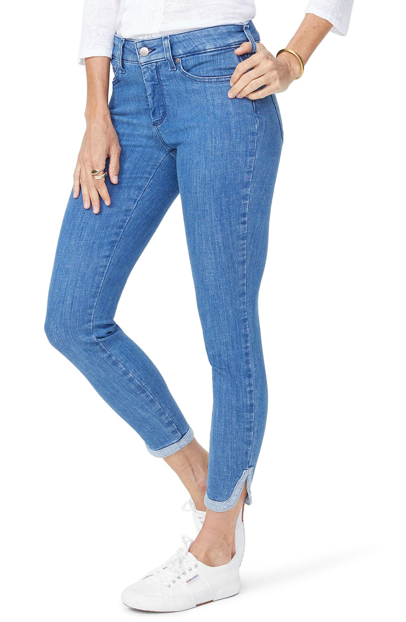 Ami Side Slit Ankle Skinny Jeans,                             Main thumbnail 1, color,                             Bliss