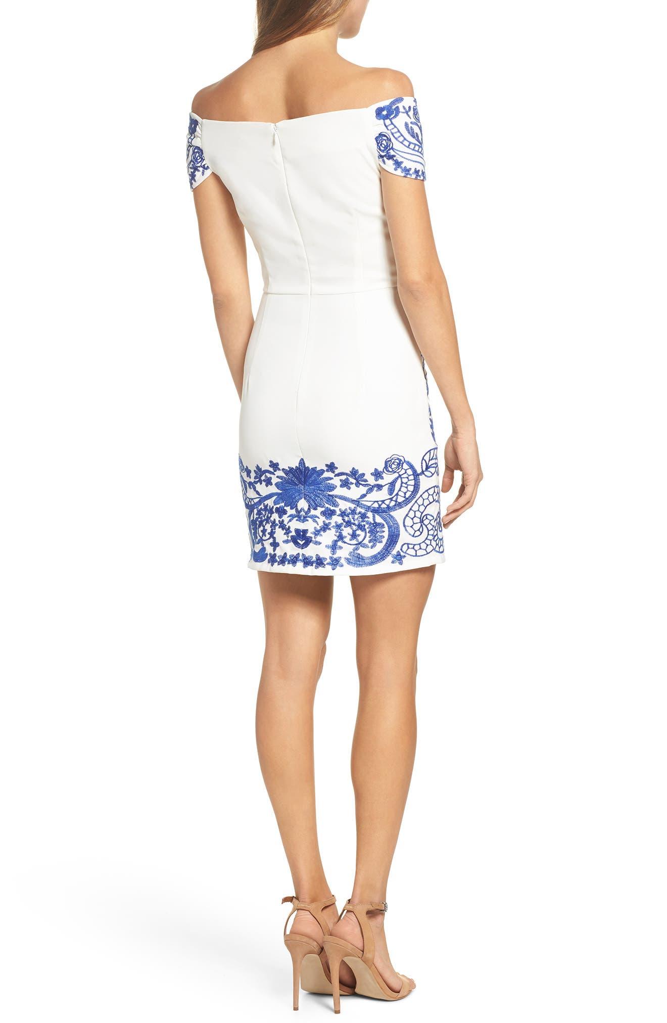 Betina Embroidered Off the Shoulder Dress,                             Alternate thumbnail 2, color,                             Cobalt
