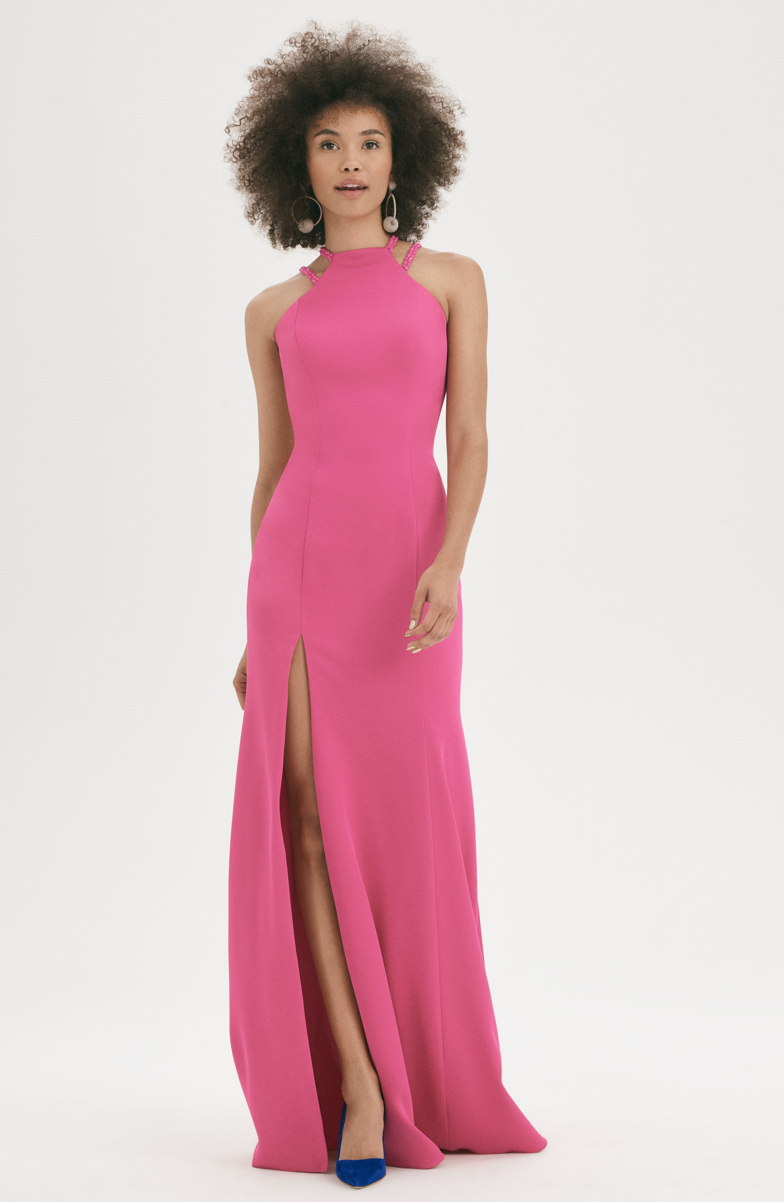 Alternate Image 2  - La Femme Beaded Strap Satin Gown